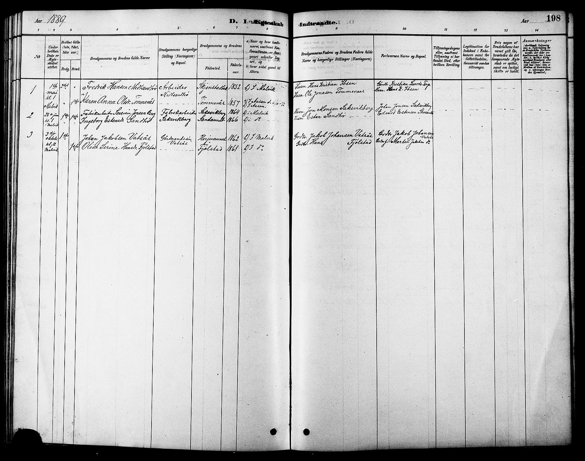 SAT, Ministerialprotokoller, klokkerbøker og fødselsregistre - Sør-Trøndelag, 616/L0423: Klokkerbok nr. 616C06, 1878-1903, s. 198