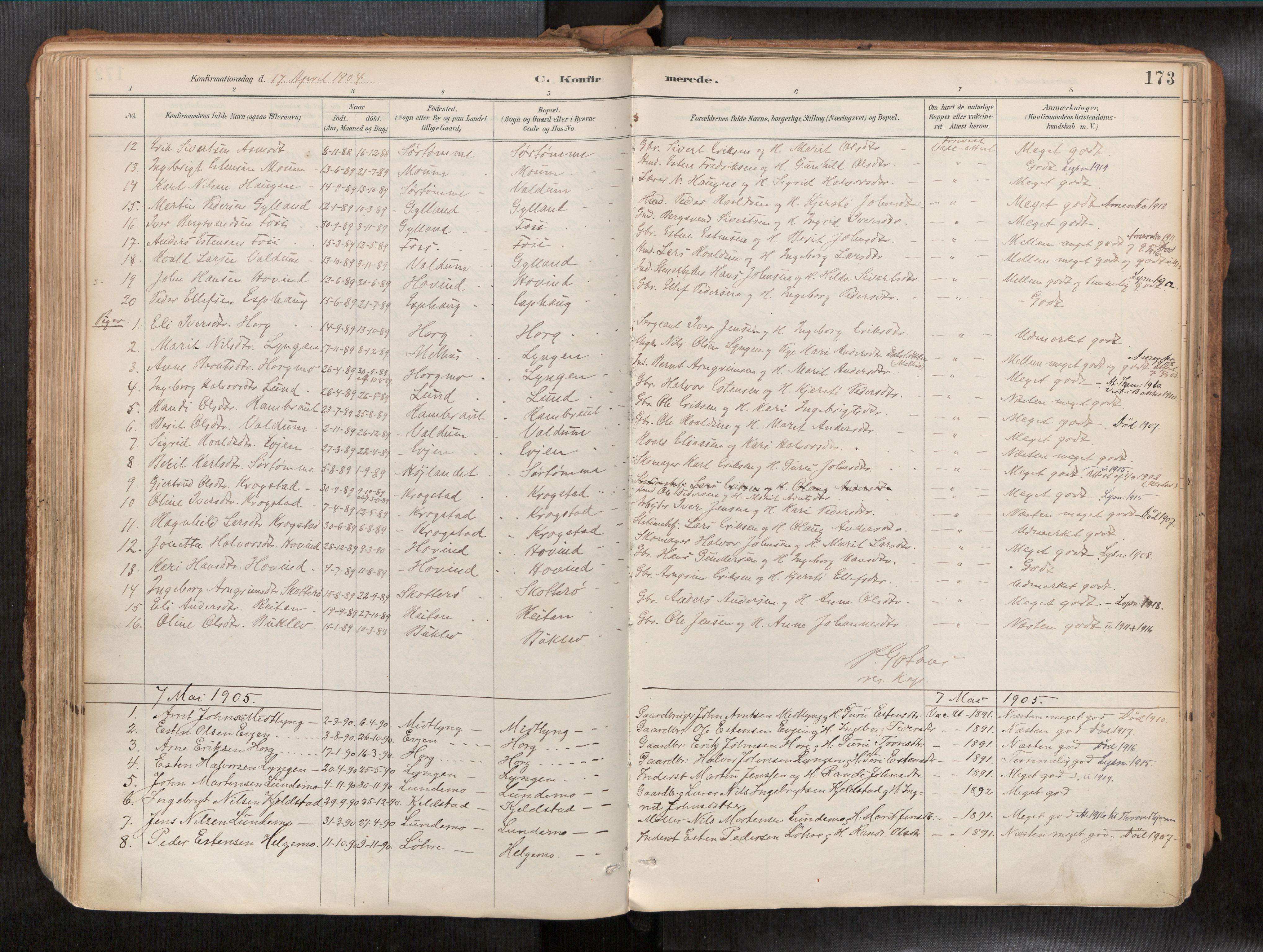 SAT, Ministerialprotokoller, klokkerbøker og fødselsregistre - Sør-Trøndelag, 692/L1105b: Ministerialbok nr. 692A06, 1891-1934, s. 173