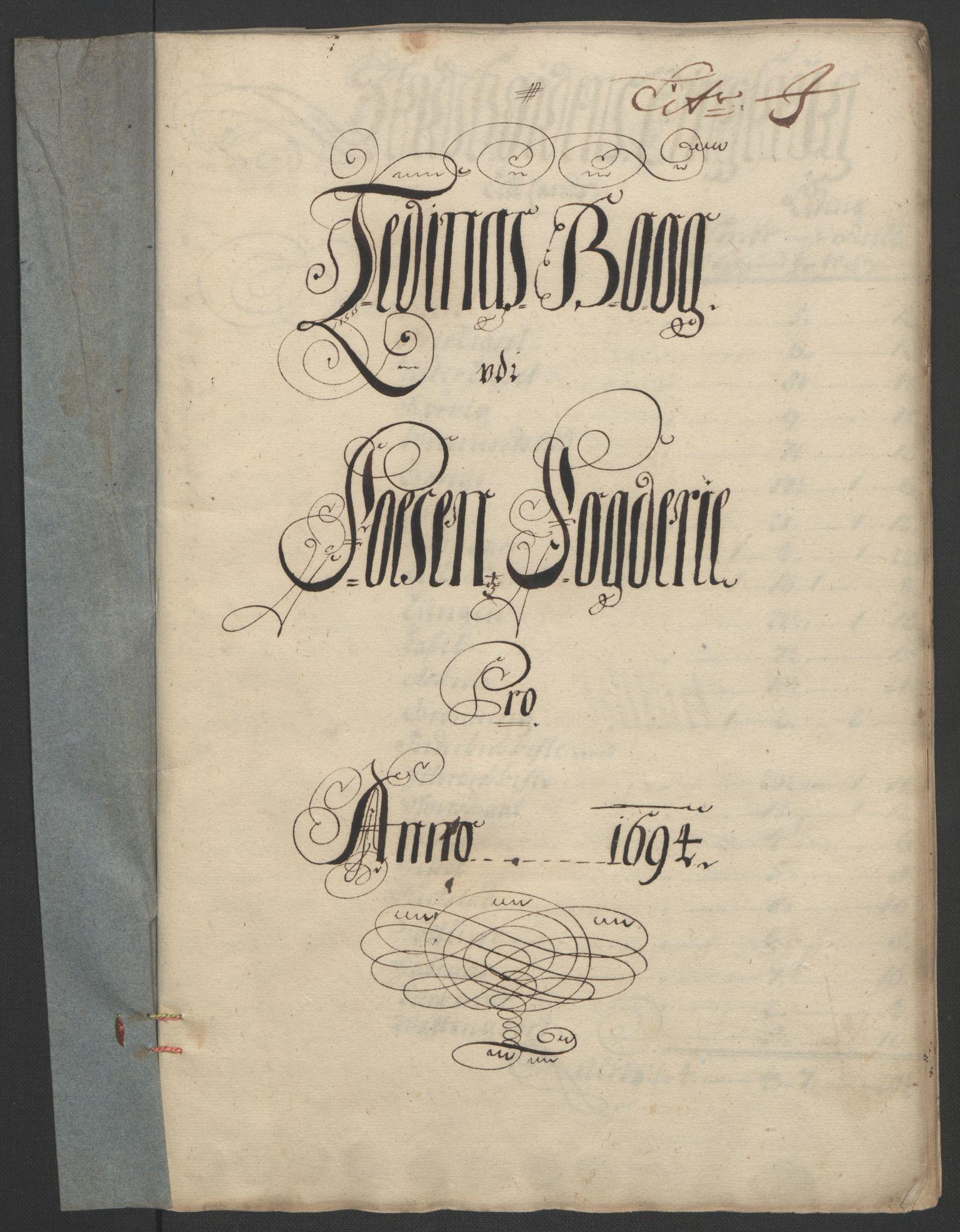 RA, Rentekammeret inntil 1814, Reviderte regnskaper, Fogderegnskap, R57/L3850: Fogderegnskap Fosen, 1694, s. 130