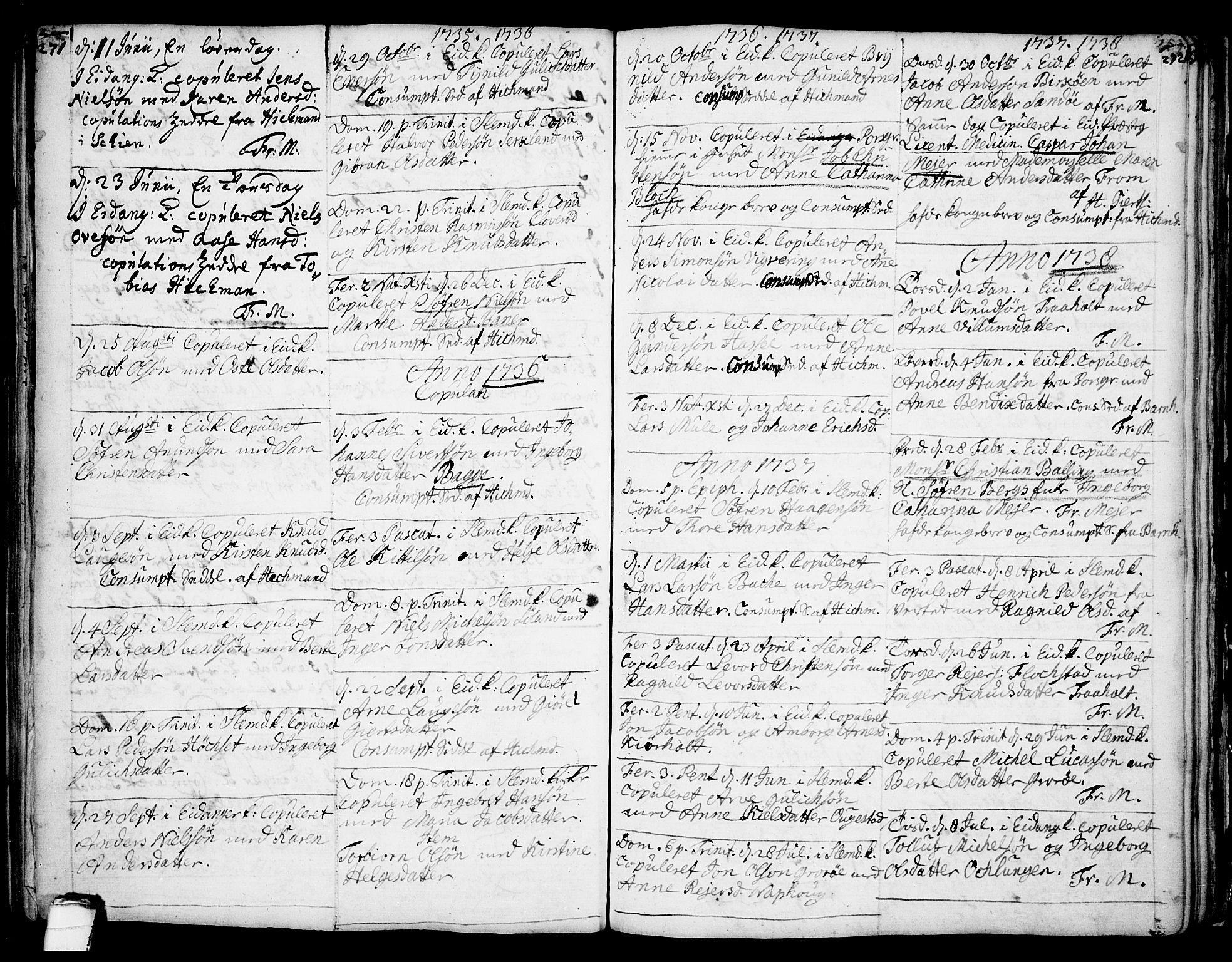 SAKO, Eidanger kirkebøker, F/Fa/L0004: Ministerialbok nr. 4, 1733-1759, s. 271-272