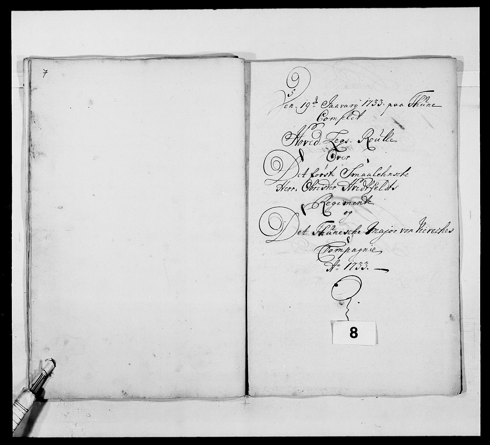 RA, Kommanderende general (KG I) med Det norske krigsdirektorium, E/Ea/L0495: 1. Smålenske regiment, 1732-1763, s. 84