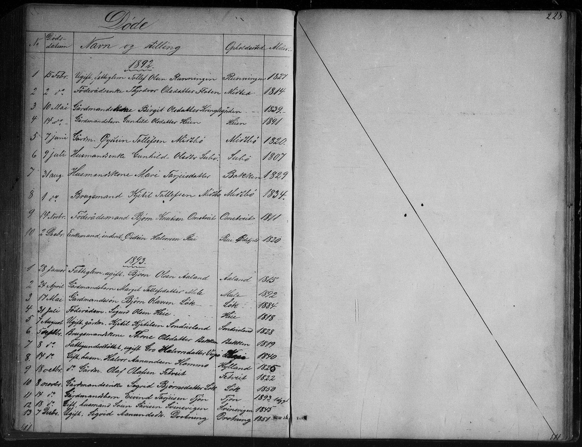 SAKO, Vinje kirkebøker, G/Ga/L0002: Klokkerbok nr. I 2, 1849-1893, s. 228