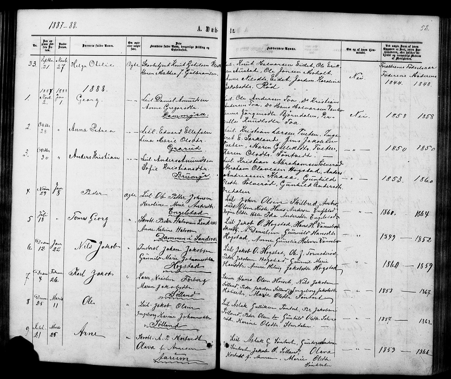 SAKO, Siljan kirkebøker, G/Ga/L0002: Klokkerbok nr. 2, 1864-1908, s. 58