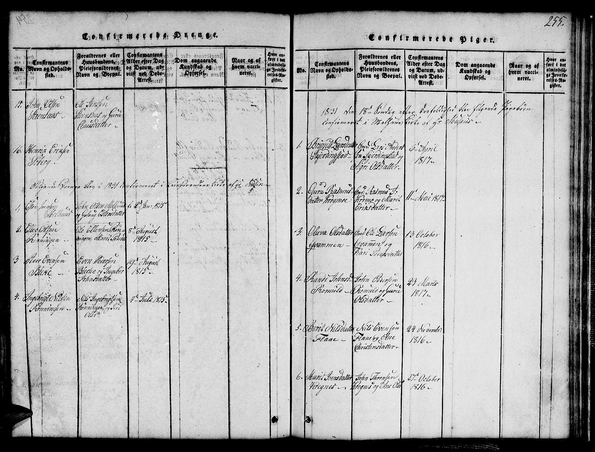 SAT, Ministerialprotokoller, klokkerbøker og fødselsregistre - Sør-Trøndelag, 691/L1092: Klokkerbok nr. 691C03, 1816-1852, s. 255