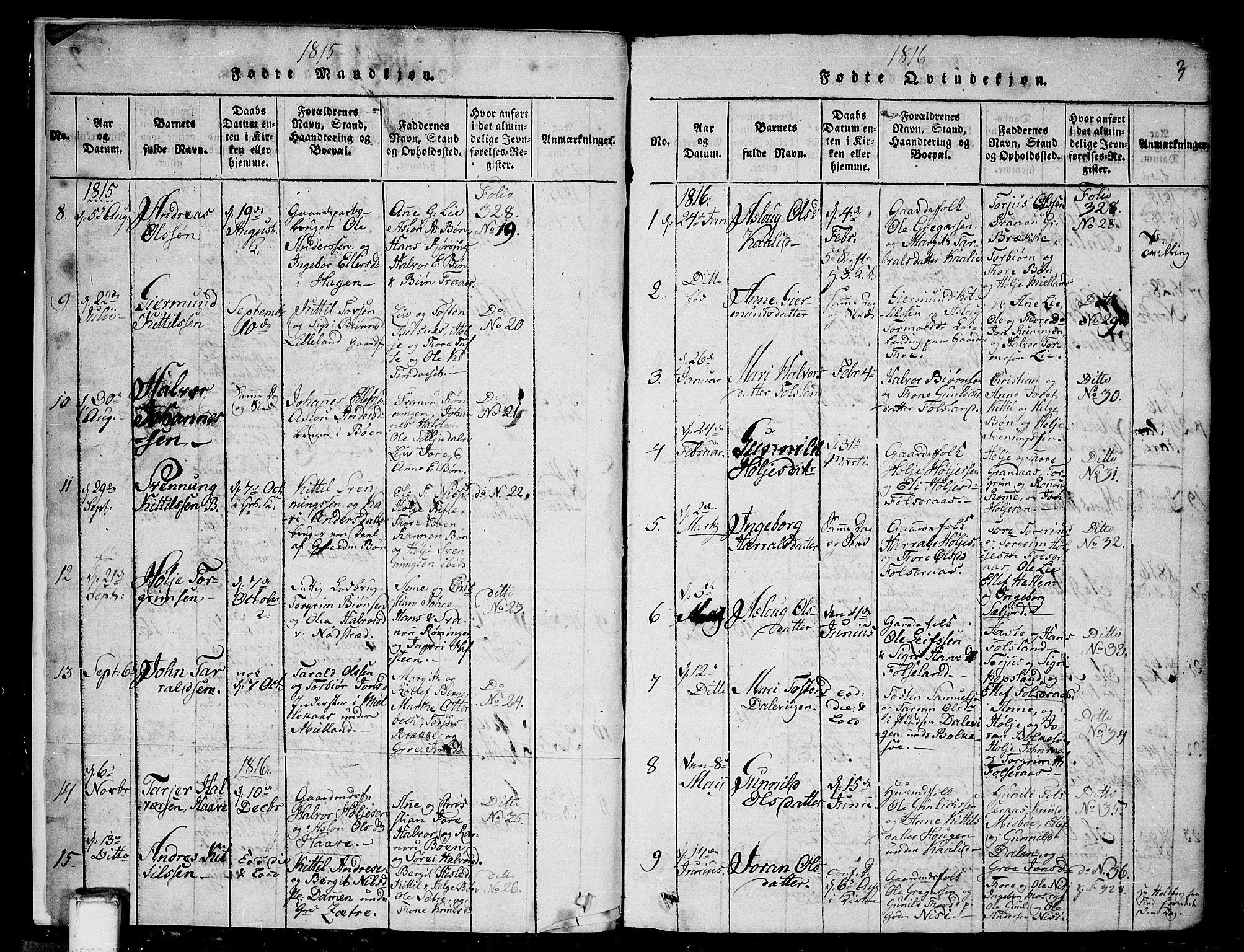 SAKO, Gransherad kirkebøker, G/Ga/L0001: Klokkerbok nr. I 1, 1815-1842, s. 3