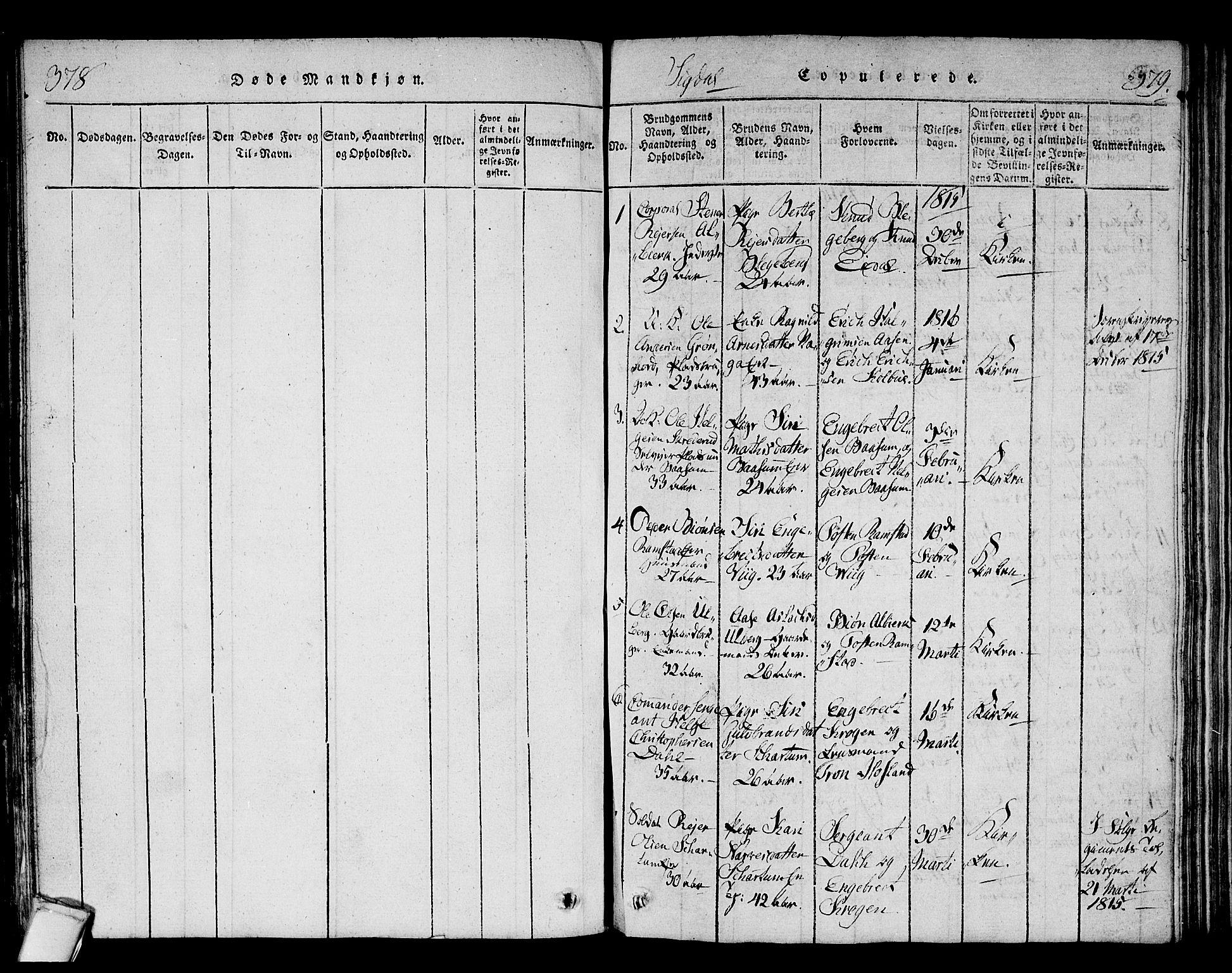 SAKO, Sigdal kirkebøker, F/Fa/L0005: Ministerialbok nr. I 5 /1, 1815-1829, s. 378-379