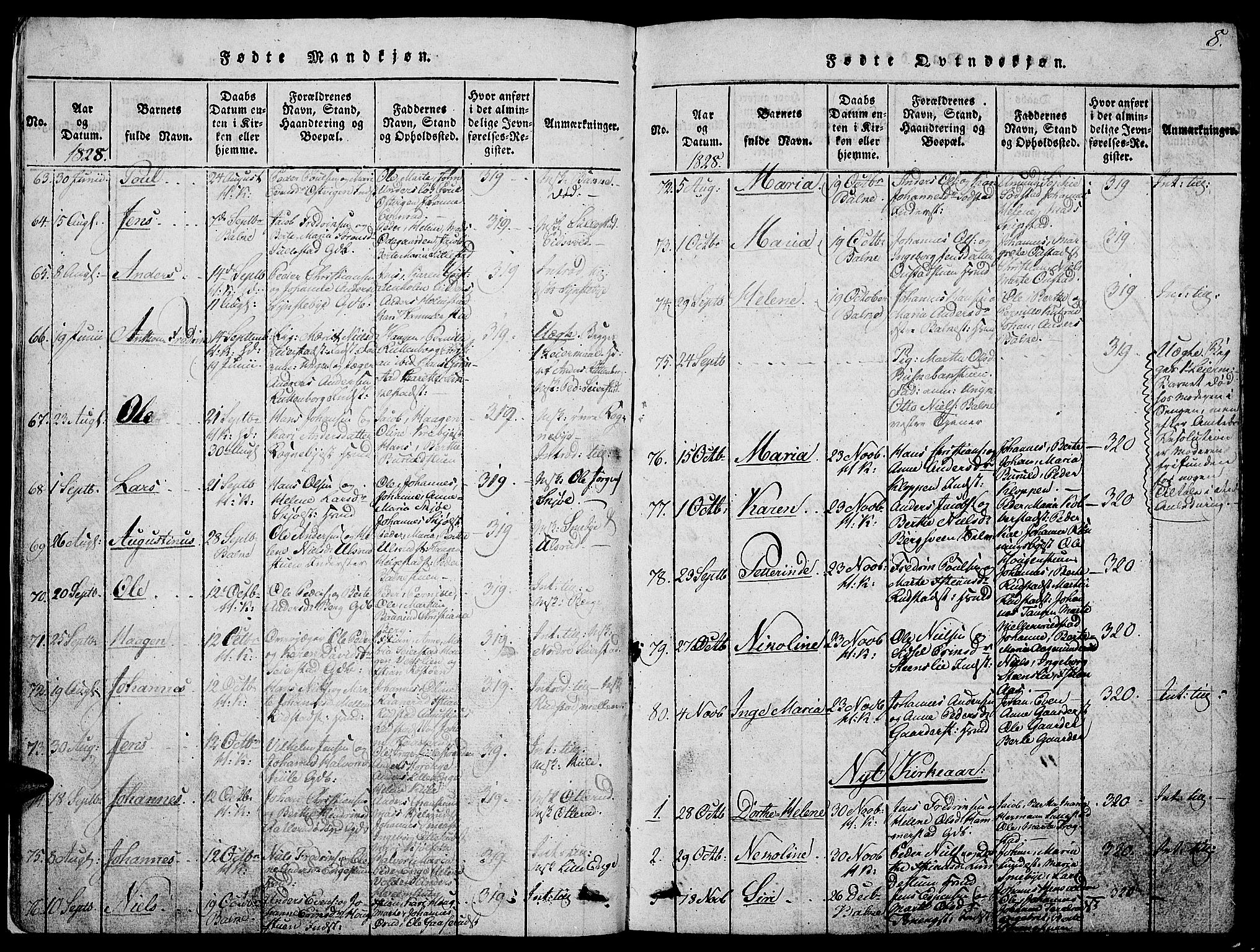 SAH, Østre Toten prestekontor, Klokkerbok nr. 1, 1827-1839, s. 8