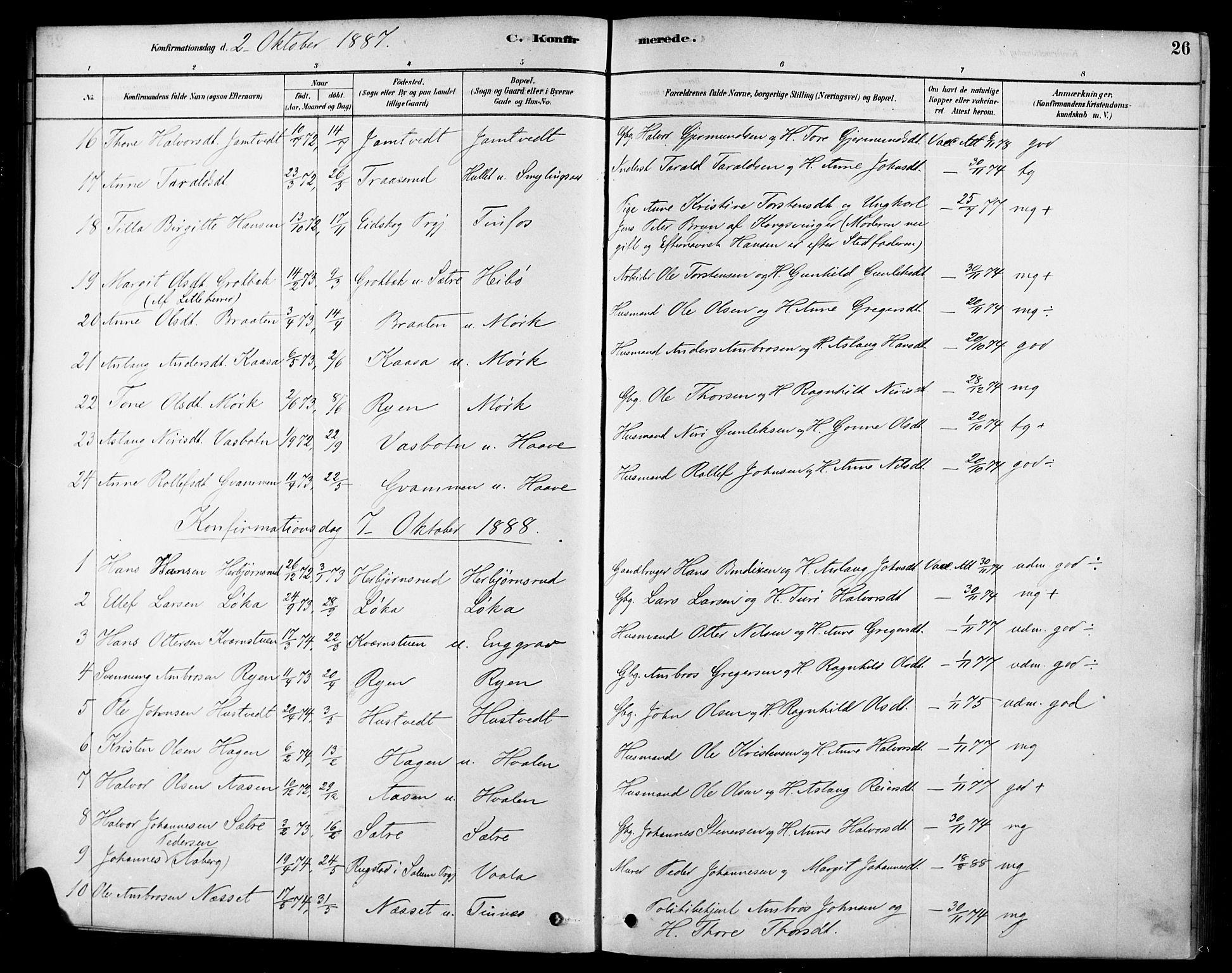 SAKO, Heddal kirkebøker, F/Fa/L0009: Ministerialbok nr. I 9, 1878-1903, s. 26