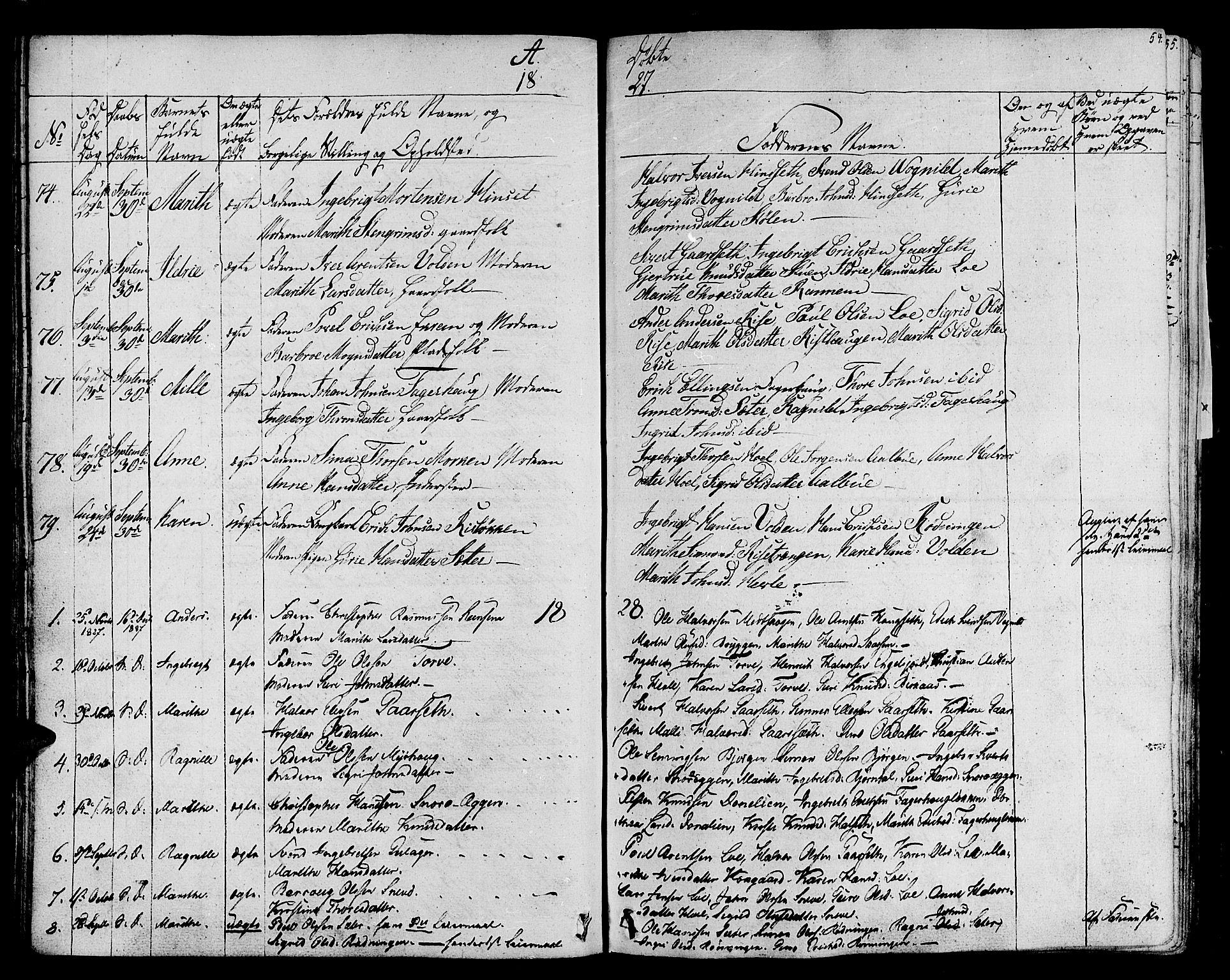 SAT, Ministerialprotokoller, klokkerbøker og fødselsregistre - Sør-Trøndelag, 678/L0897: Ministerialbok nr. 678A06-07, 1821-1847, s. 54