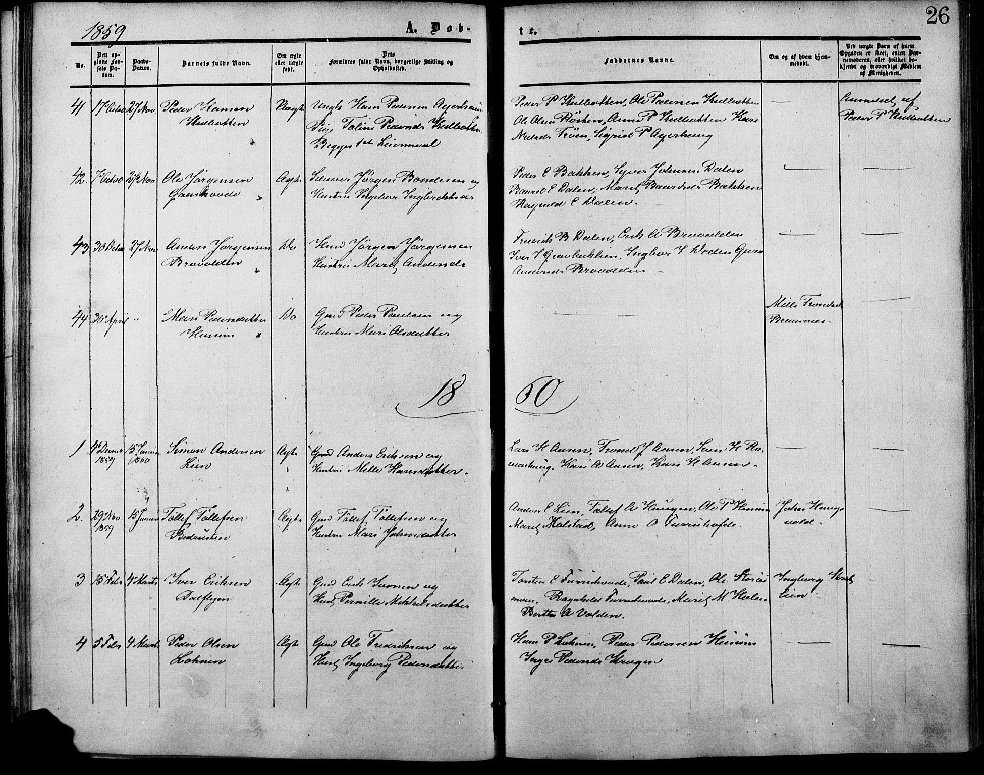 SAH, Lesja prestekontor, Ministerialbok nr. 7, 1854-1862, s. 26