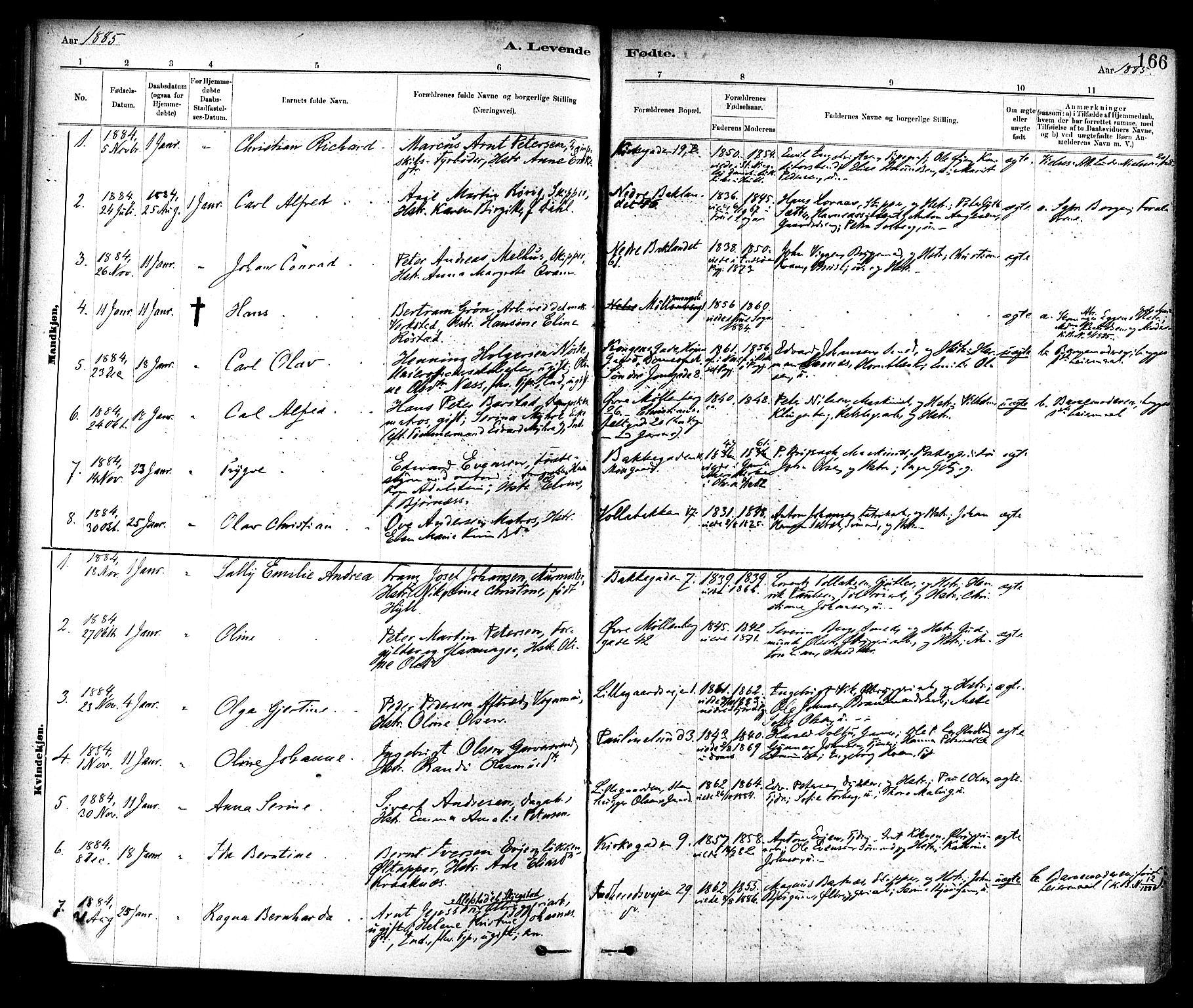 SAT, Ministerialprotokoller, klokkerbøker og fødselsregistre - Sør-Trøndelag, 604/L0188: Ministerialbok nr. 604A09, 1878-1892, s. 166