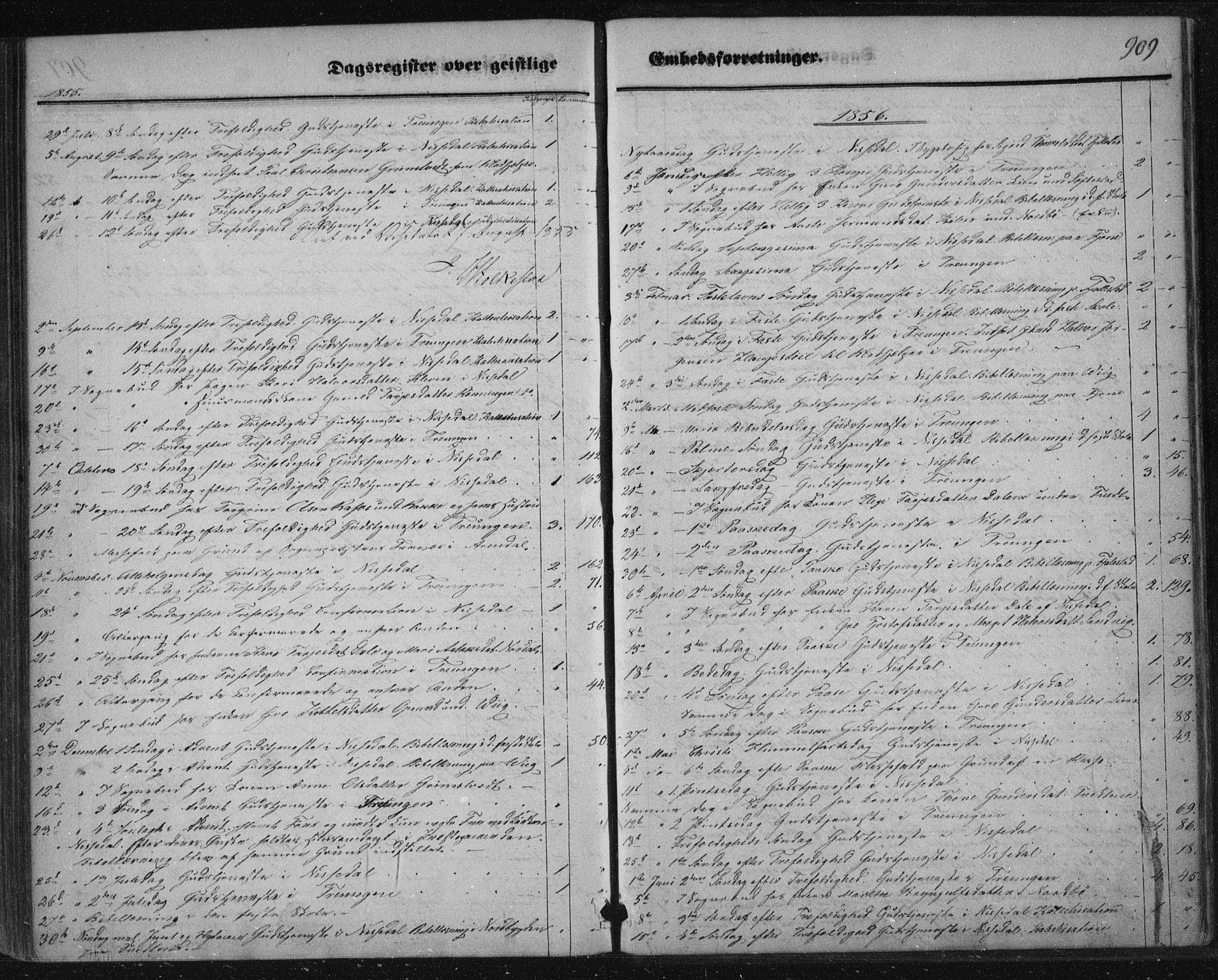 SAKO, Nissedal kirkebøker, F/Fa/L0003: Ministerialbok nr. I 3, 1846-1870, s. 908-909