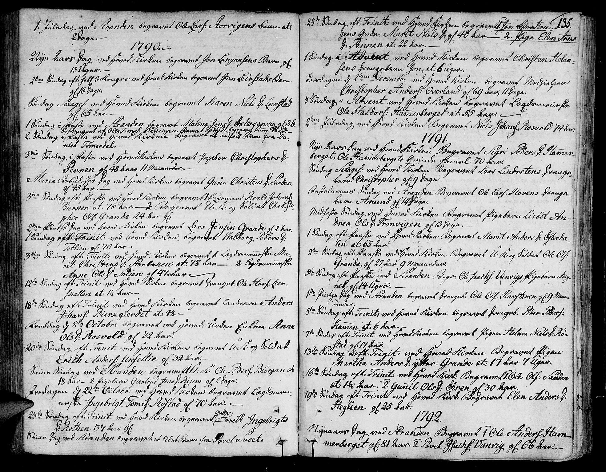 SAT, Ministerialprotokoller, klokkerbøker og fødselsregistre - Nord-Trøndelag, 701/L0004: Ministerialbok nr. 701A04, 1783-1816, s. 135