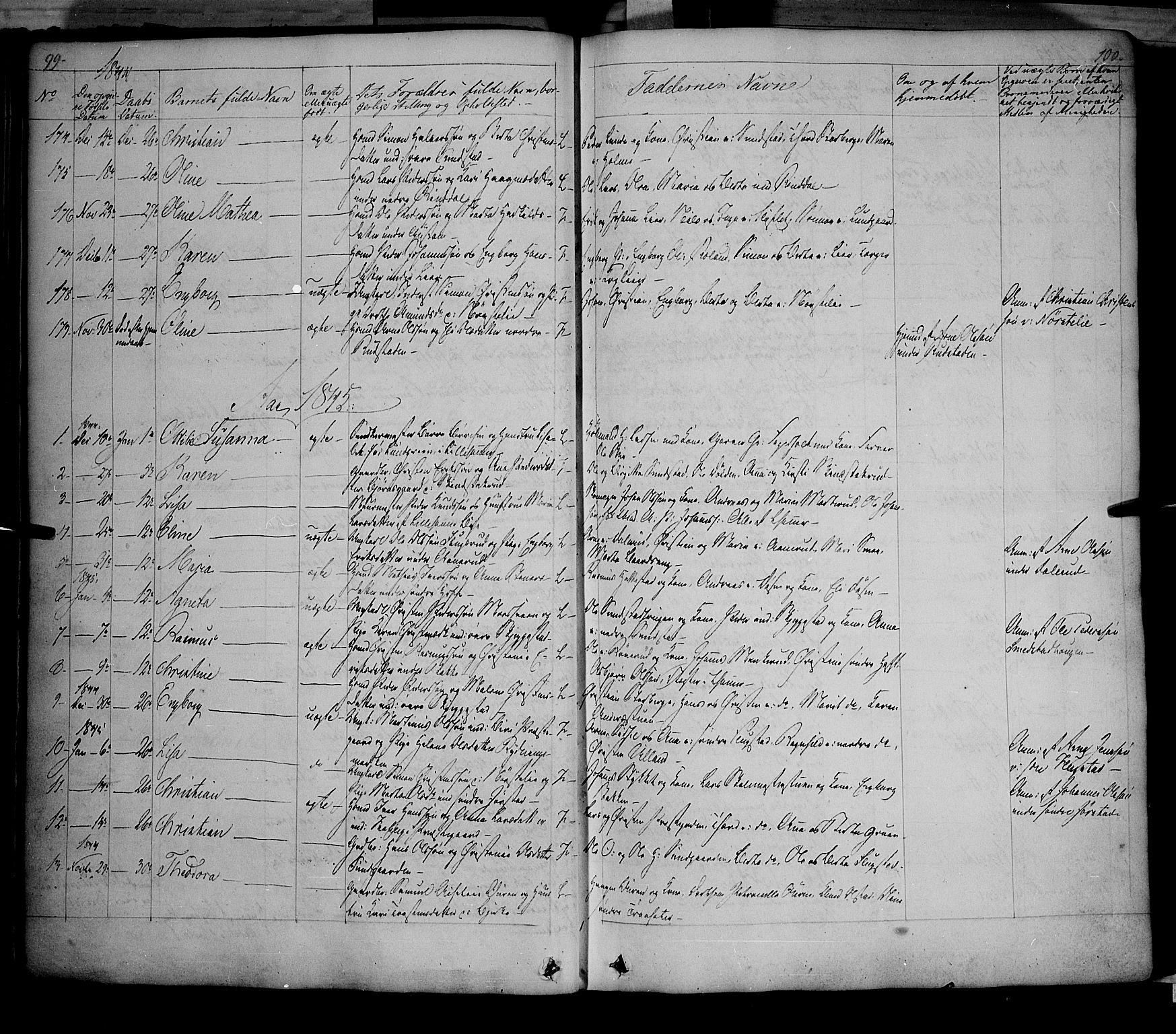 SAH, Fåberg prestekontor, Ministerialbok nr. 5, 1836-1854, s. 99-100