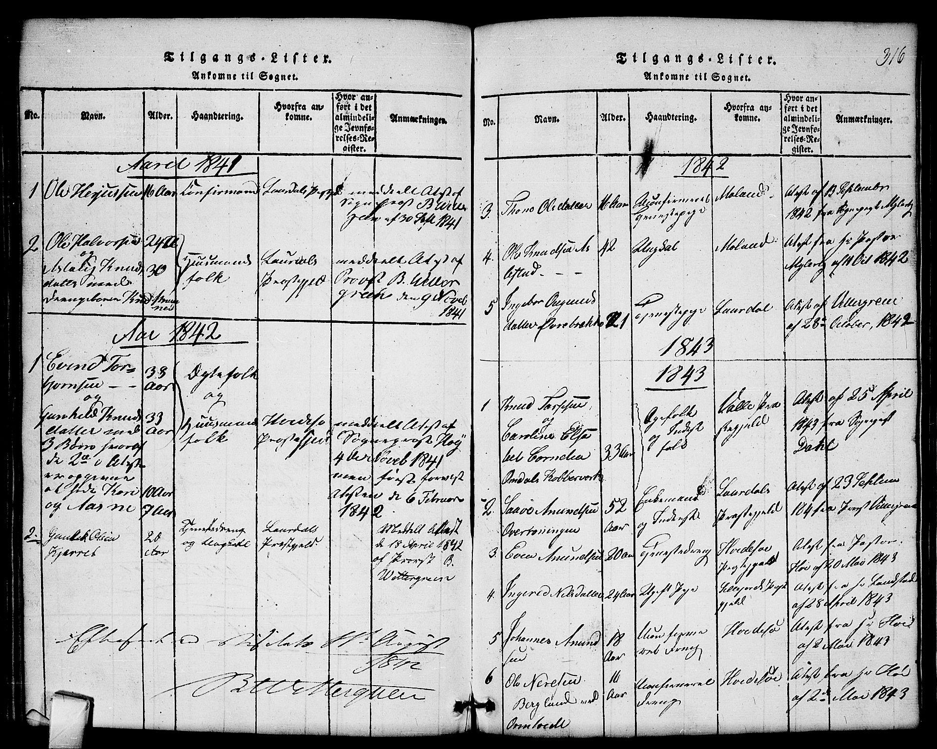 SAKO, Mo kirkebøker, G/Gb/L0001: Klokkerbok nr. II 1, 1814-1843, s. 316