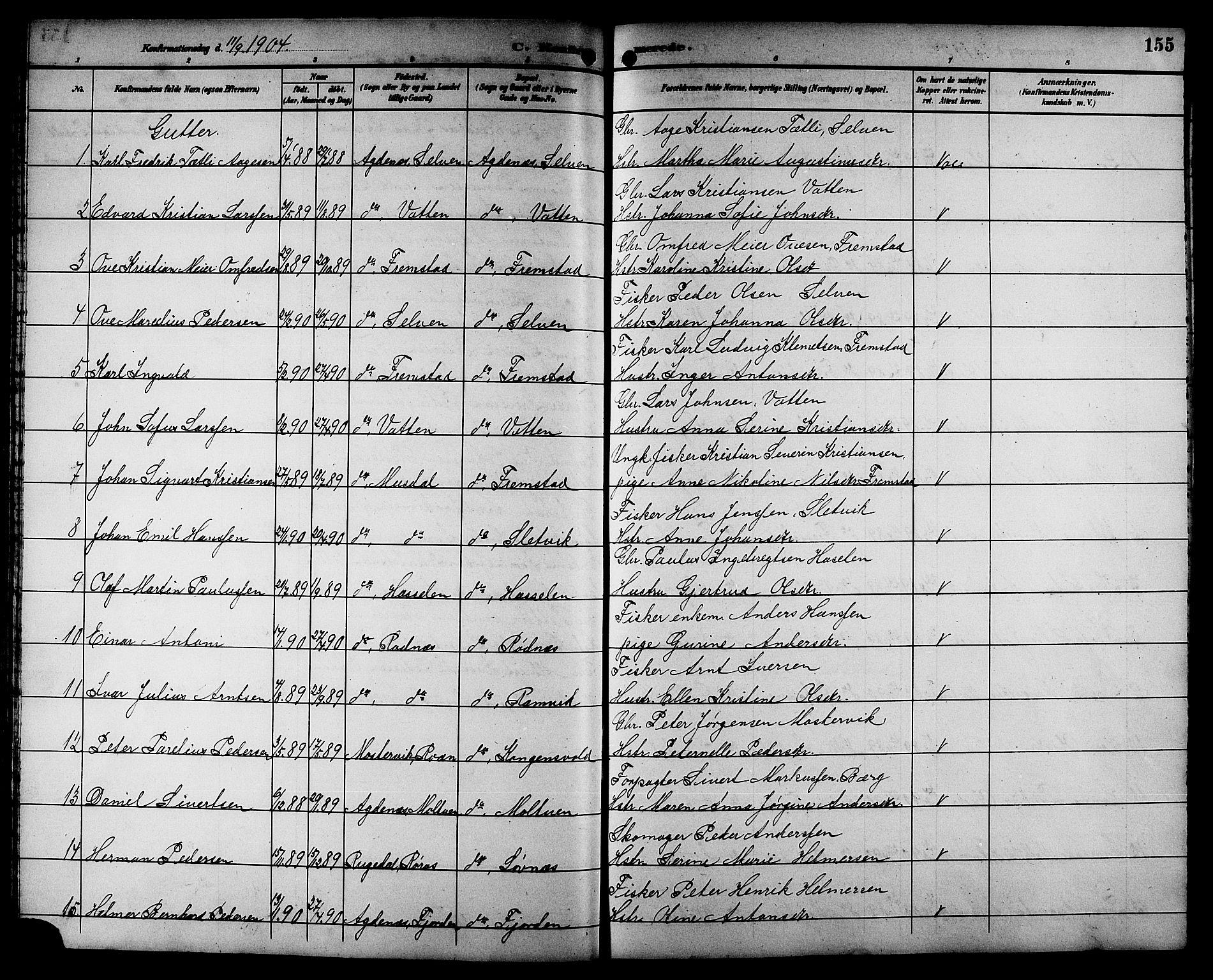 SAT, Ministerialprotokoller, klokkerbøker og fødselsregistre - Sør-Trøndelag, 662/L0757: Klokkerbok nr. 662C02, 1892-1918, s. 155
