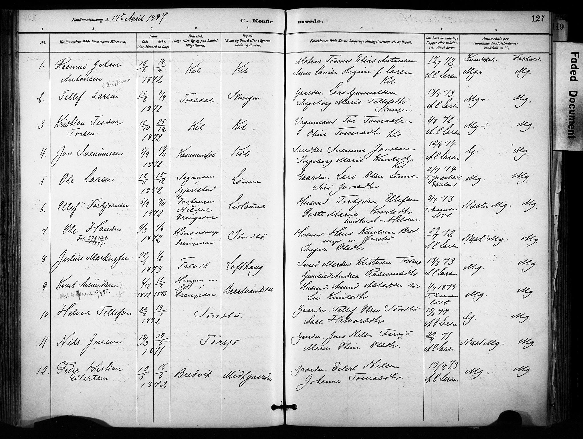 SAKO, Sannidal kirkebøker, F/Fa/L0015: Ministerialbok nr. 15, 1884-1899, s. 127