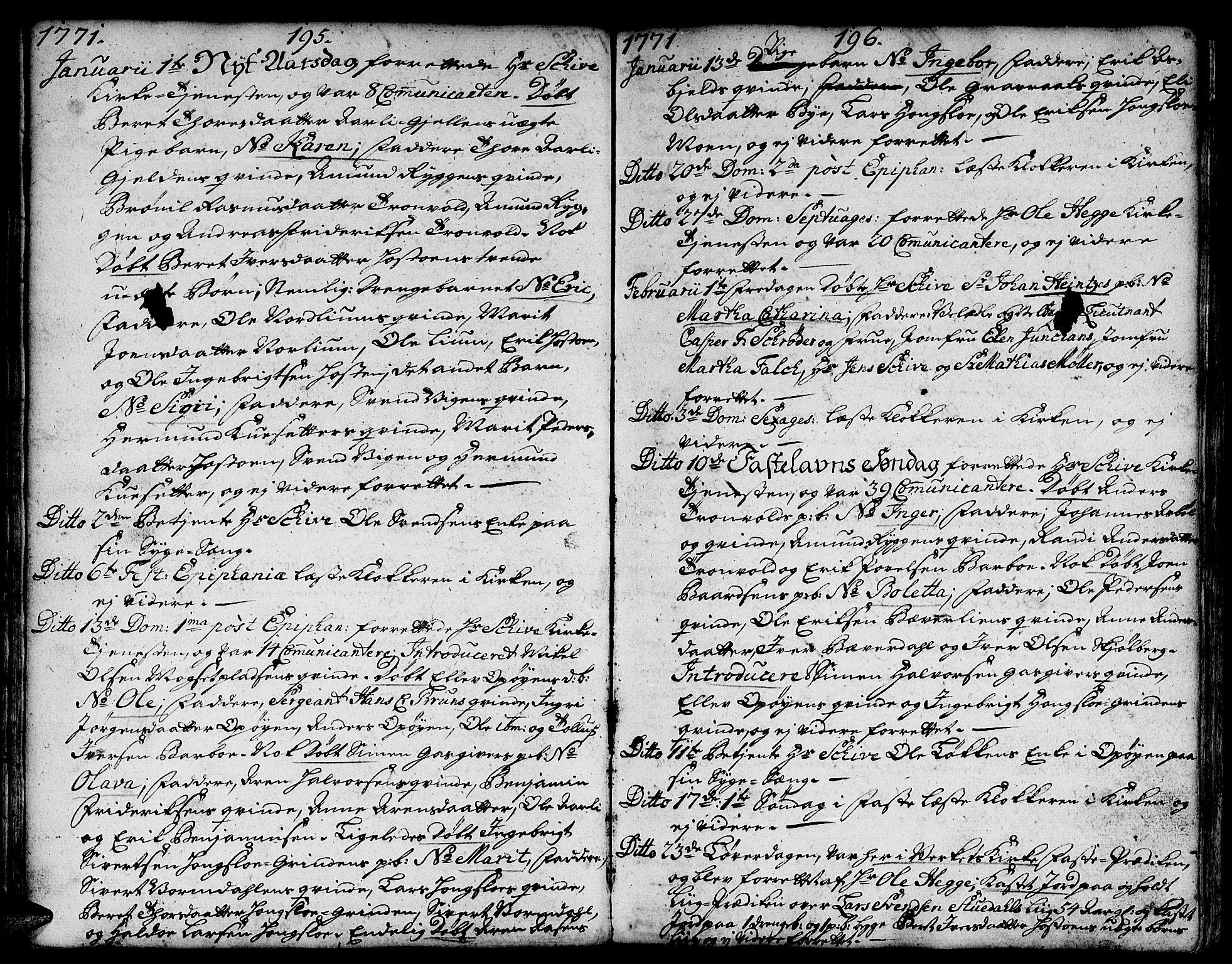 SAT, Ministerialprotokoller, klokkerbøker og fødselsregistre - Sør-Trøndelag, 671/L0840: Ministerialbok nr. 671A02, 1756-1794, s. 195-196