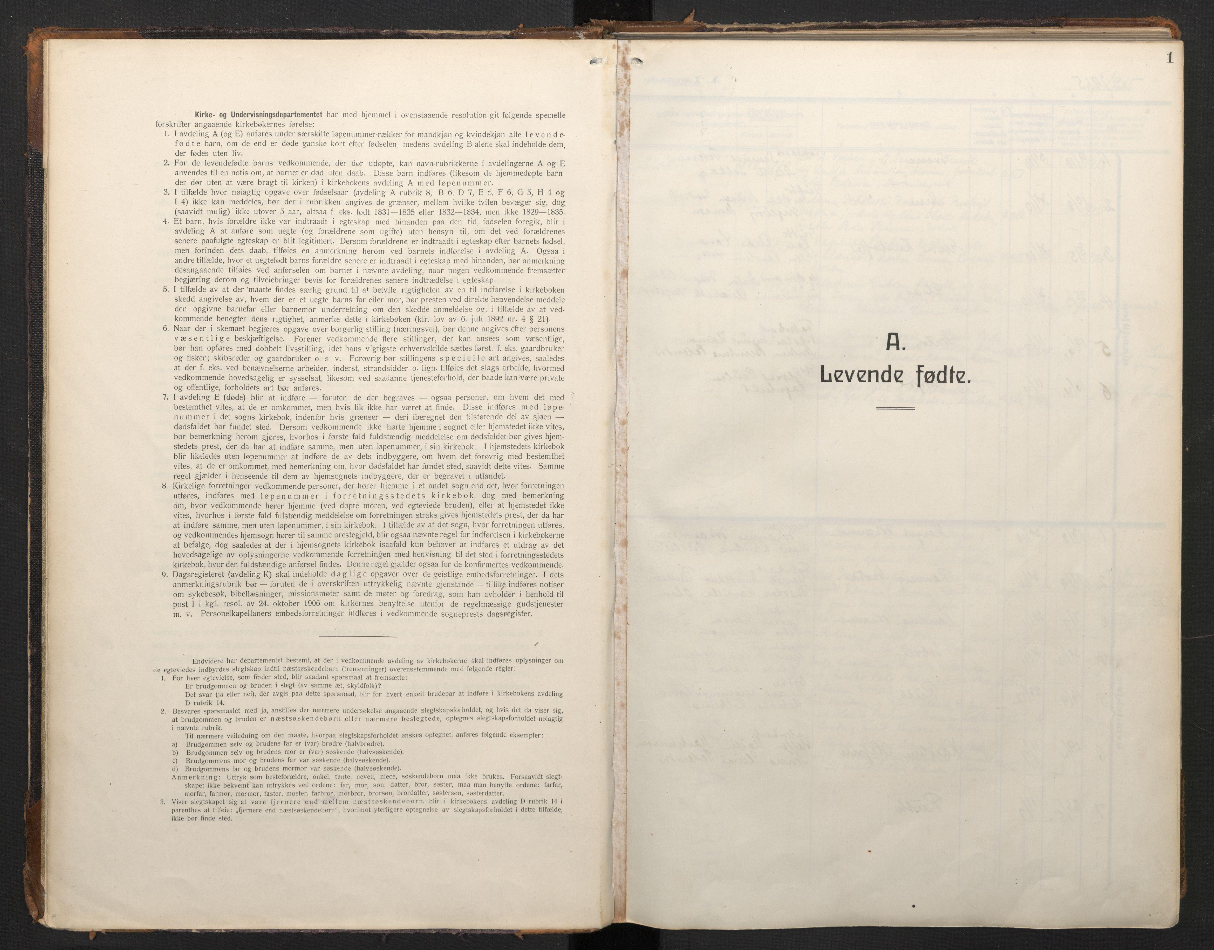 SAB, Laksevåg Sokneprestembete, H/Ha/Haa/Haah/L0001: Ministerialbok nr. H 1, 1915-1934, s. 1