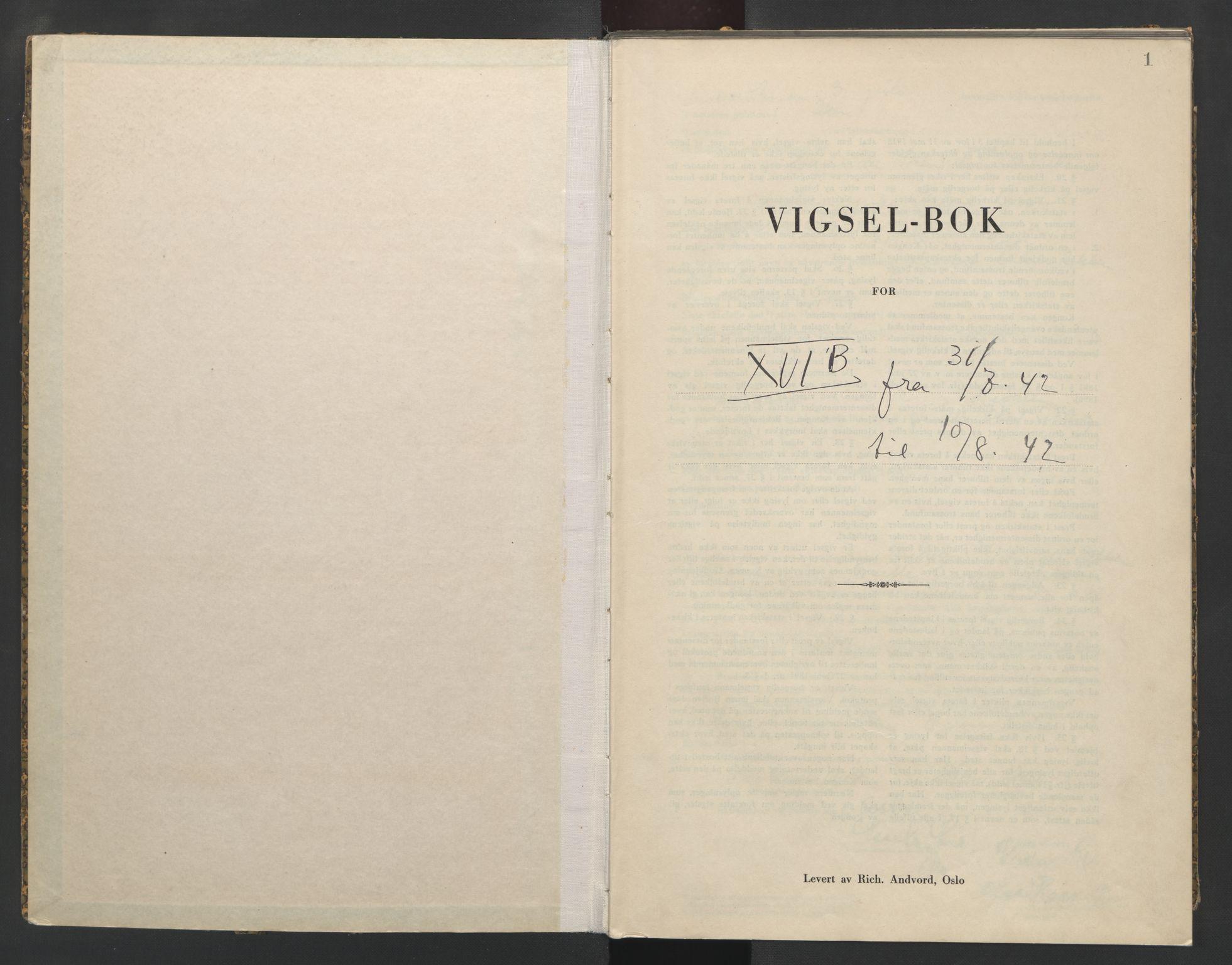 SAO, Aker sorenskriveri, L/Lc/Lcb/L0017: Vigselprotokoll, 1942, s. 1