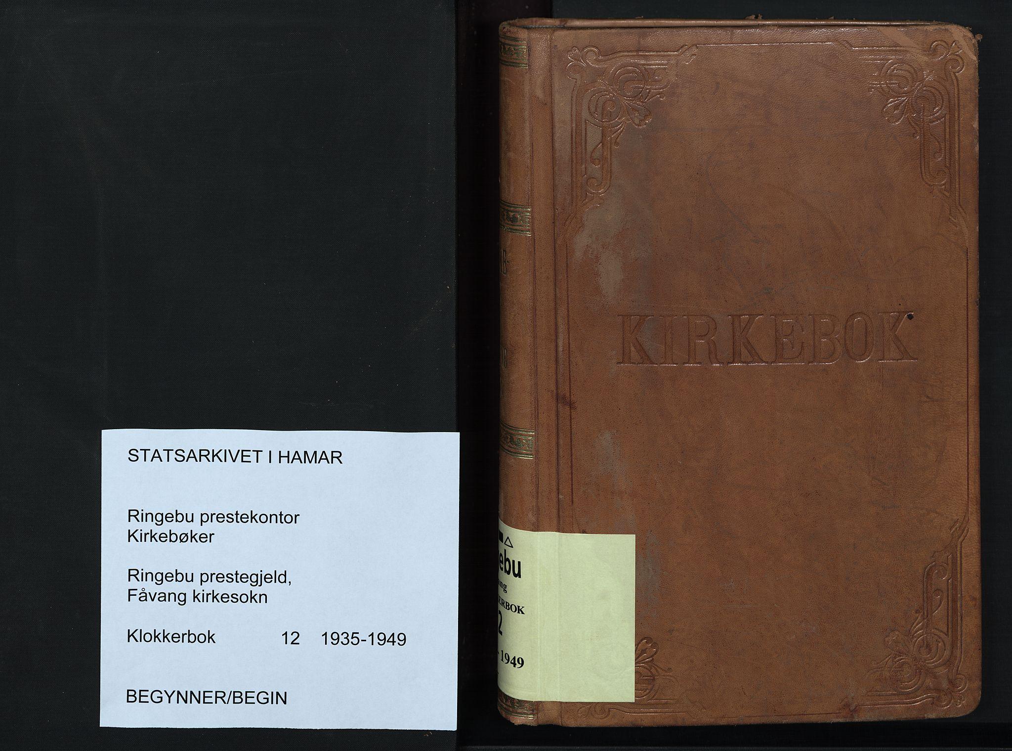 SAH, Ringebu prestekontor, Klokkerbok nr. 12, 1934-1949