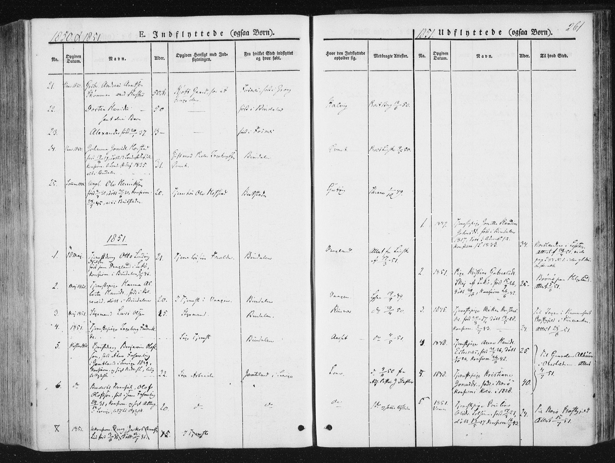 SAT, Ministerialprotokoller, klokkerbøker og fødselsregistre - Nord-Trøndelag, 780/L0640: Ministerialbok nr. 780A05, 1845-1856, s. 261