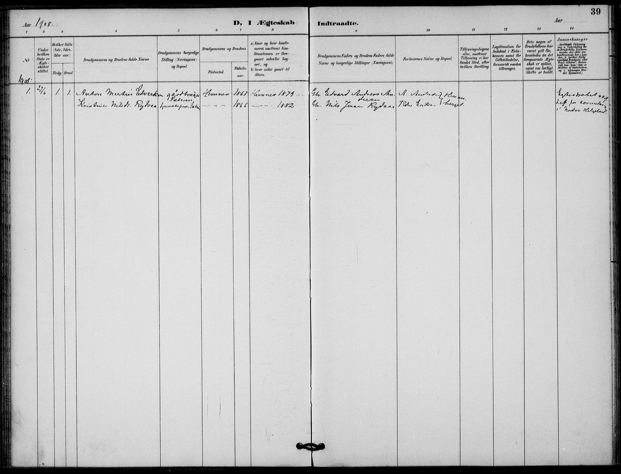 SAT, Ministerialprotokoller, klokkerbøker og fødselsregistre - Nordland, 825/L0363: Ministerialbok nr. 825A17, 1890-1909, s. 39