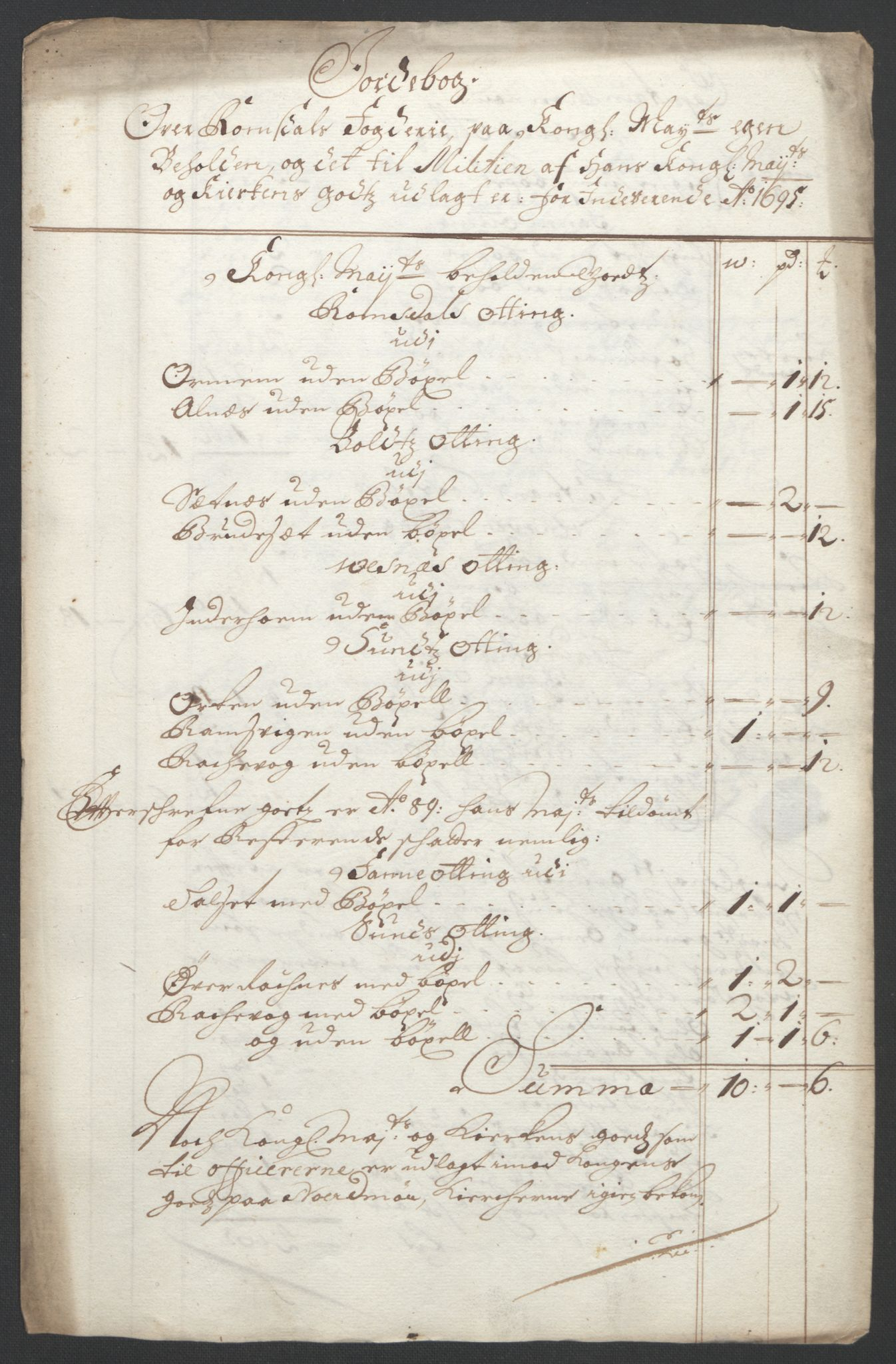 RA, Rentekammeret inntil 1814, Reviderte regnskaper, Fogderegnskap, R55/L3652: Fogderegnskap Romsdal, 1695-1696, s. 98