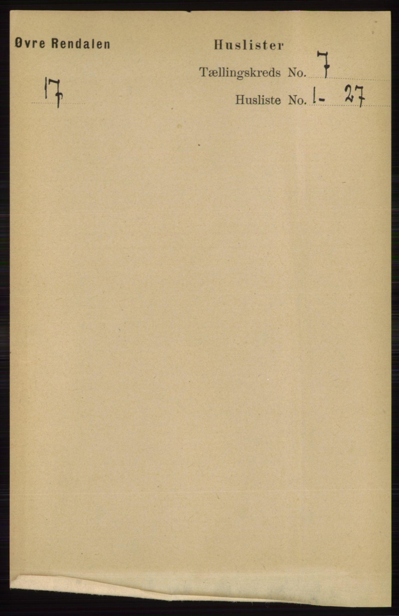 RA, Folketelling 1891 for 0433 Øvre Rendal herred, 1891, s. 1783