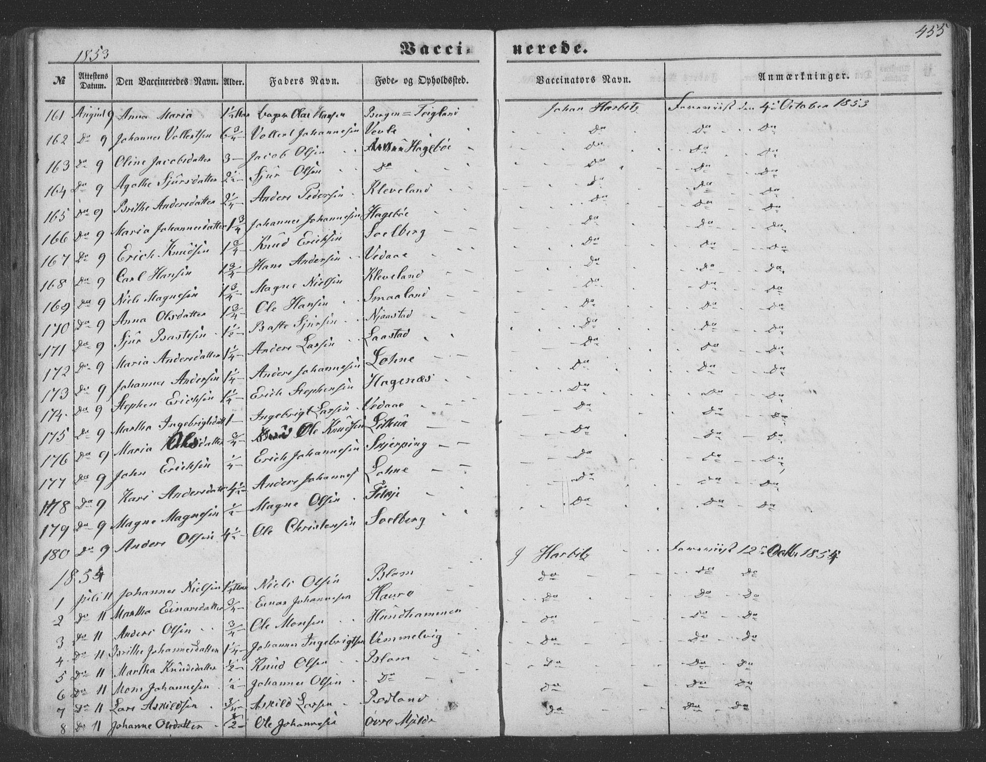 SAB, Haus Sokneprestembete, H/Haa: Ministerialbok nr. A 16 II, 1848-1857, s. 455