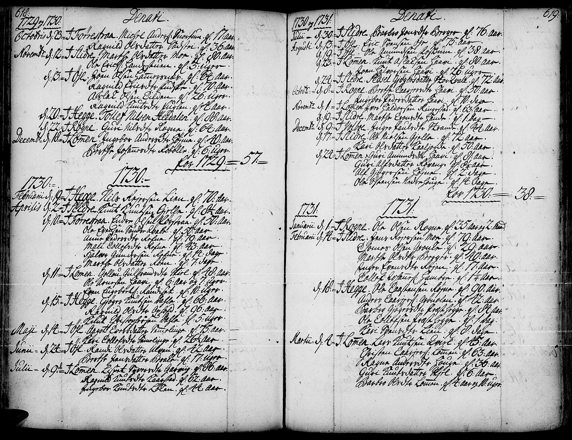 SAH, Slidre prestekontor, Ministerialbok nr. 1, 1724-1814, s. 618-619
