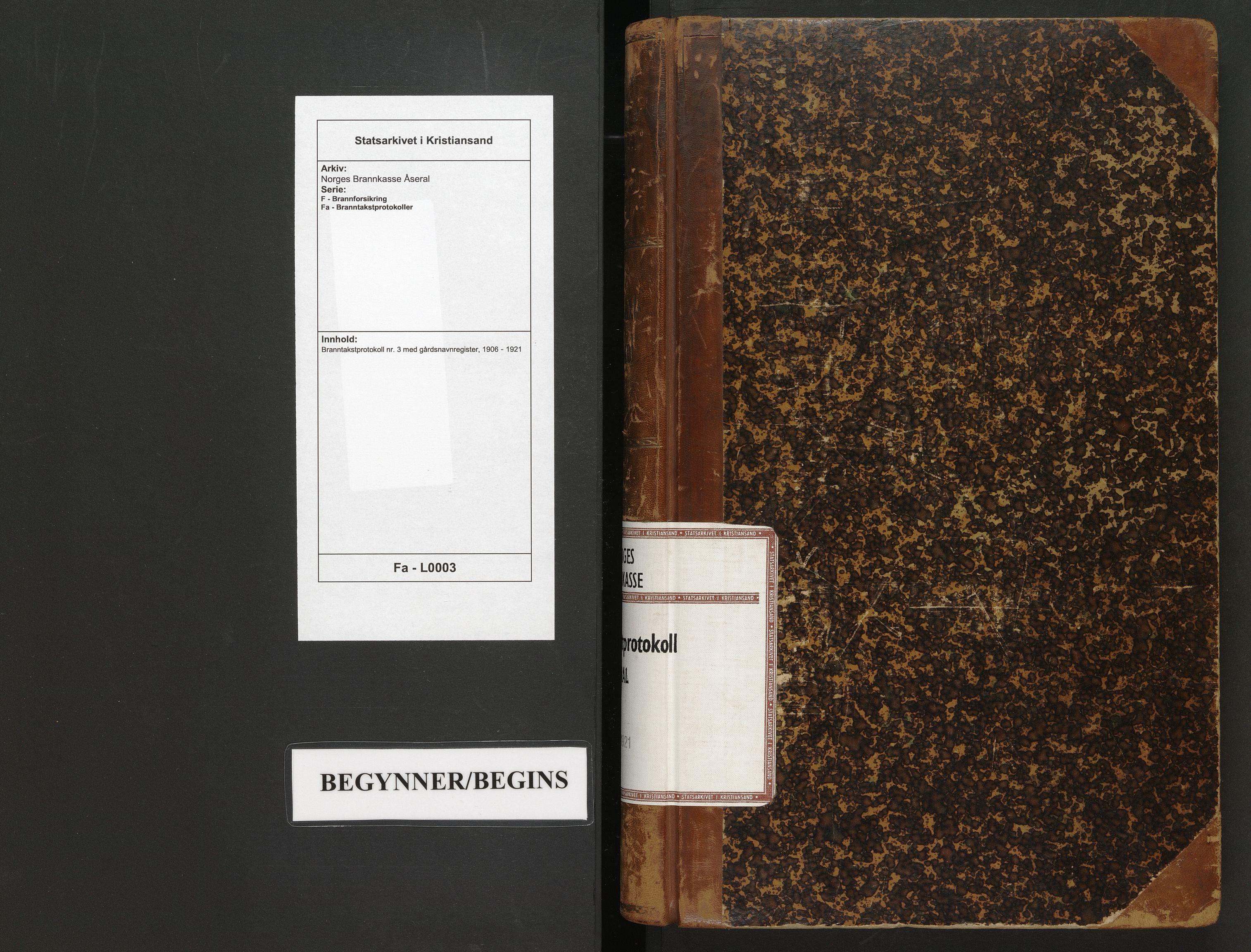 SAK, Norges Brannkasse Åseral, F/Fa/L0003: Branntakstprotokoll nr. 3 med gårdsnavnregister, 1906-1921