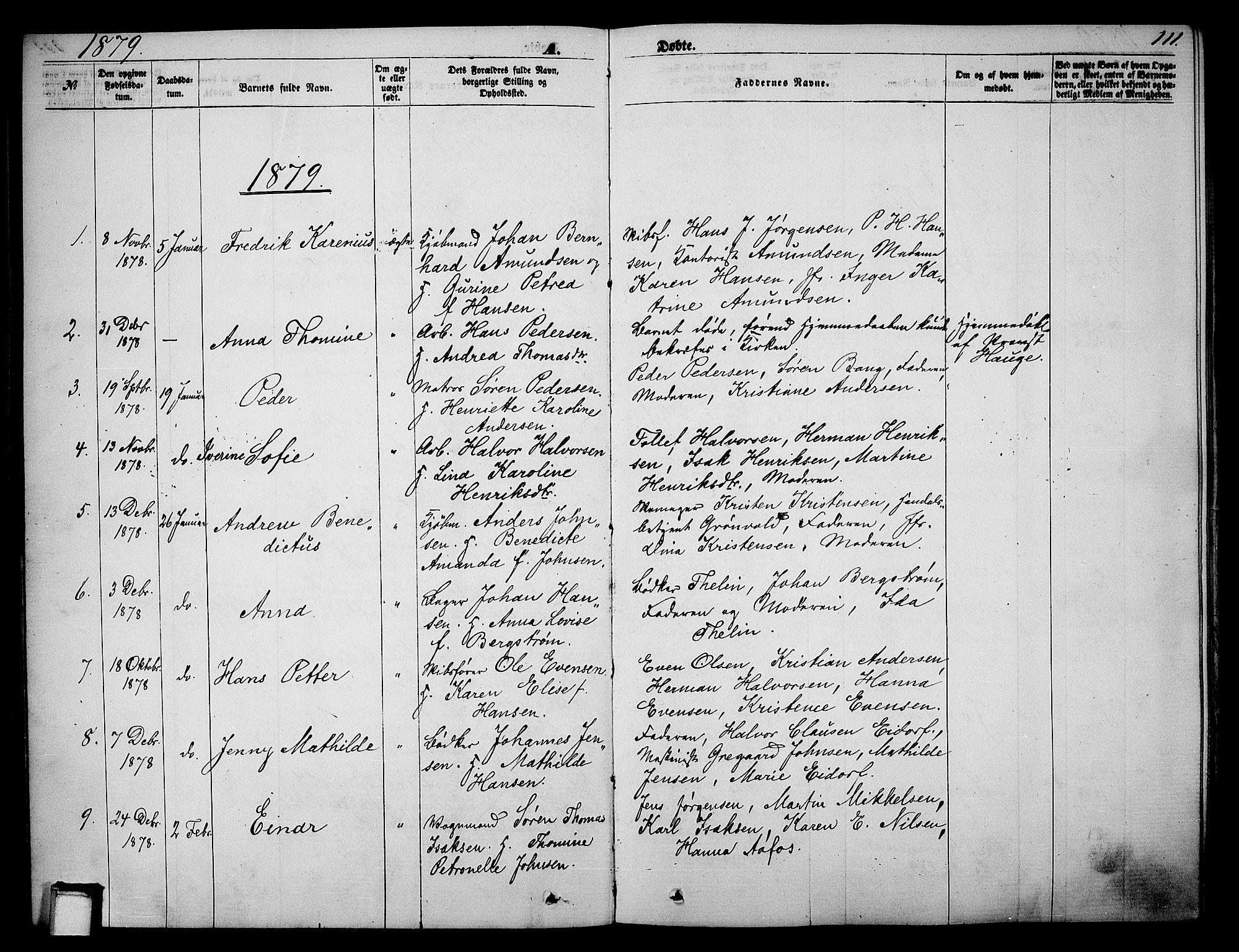 SAKO, Skien kirkebøker, G/Ga/L0005: Klokkerbok nr. 5, 1868-1880, s. 111