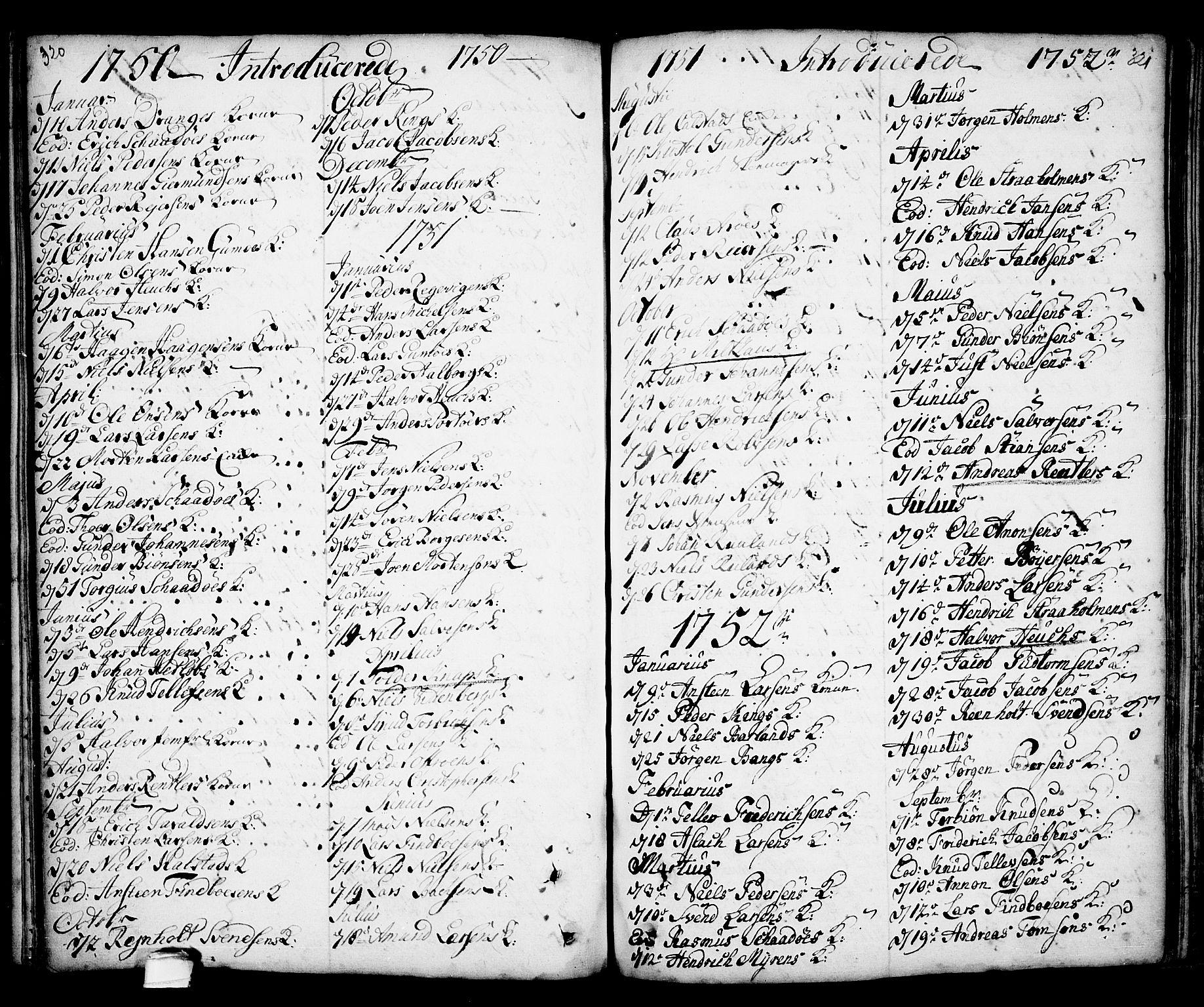 SAKO, Kragerø kirkebøker, F/Fa/L0001: Ministerialbok nr. 1, 1702-1766, s. 320-321