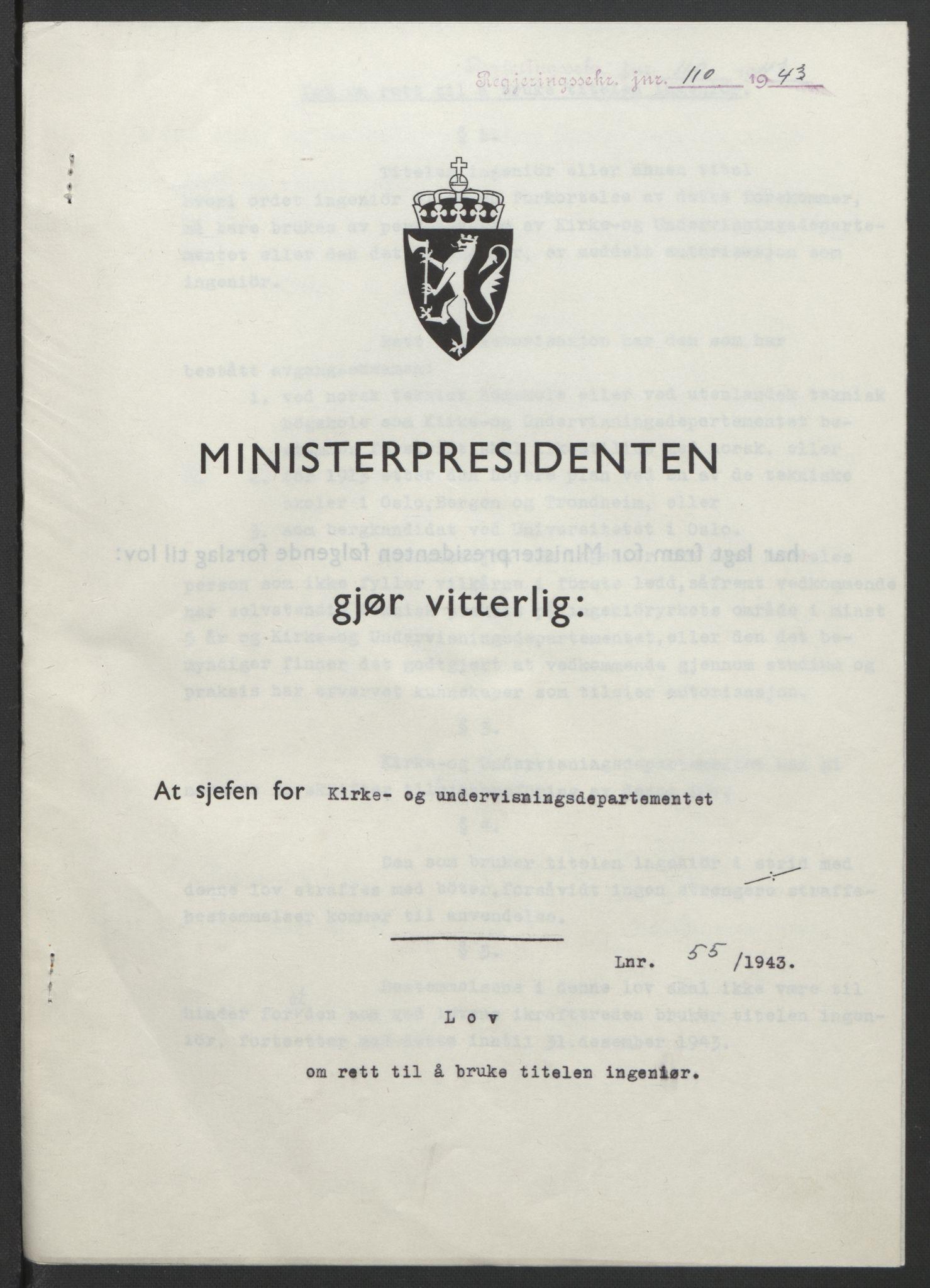 RA, NS-administrasjonen 1940-1945 (Statsrådsekretariatet, de kommisariske statsråder mm), D/Db/L0099: Lover, 1943, s. 248
