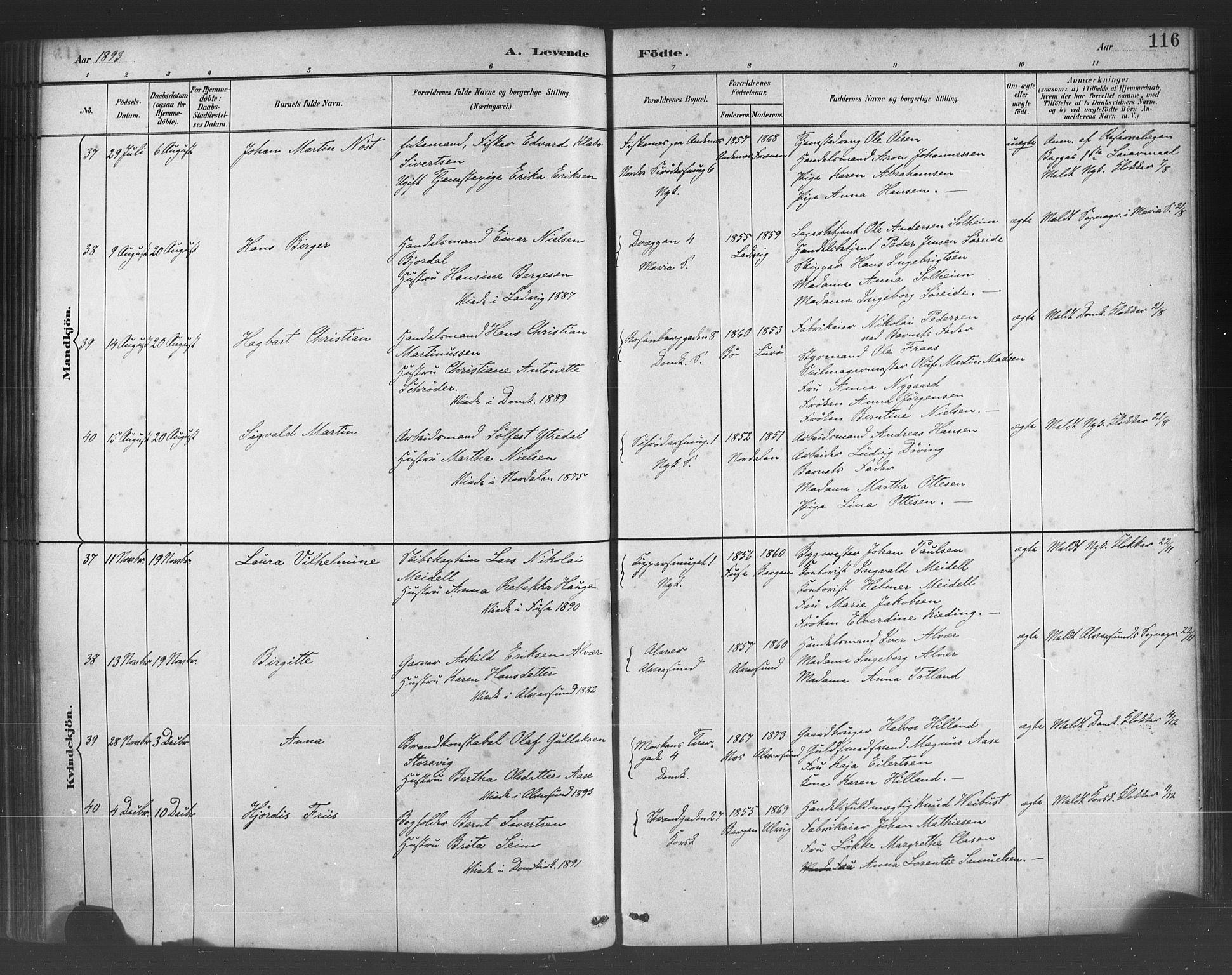 SAB, Fødselsstiftelsens sokneprestembete*, Ministerialbok nr. A 2, 1884-1900, s. 116