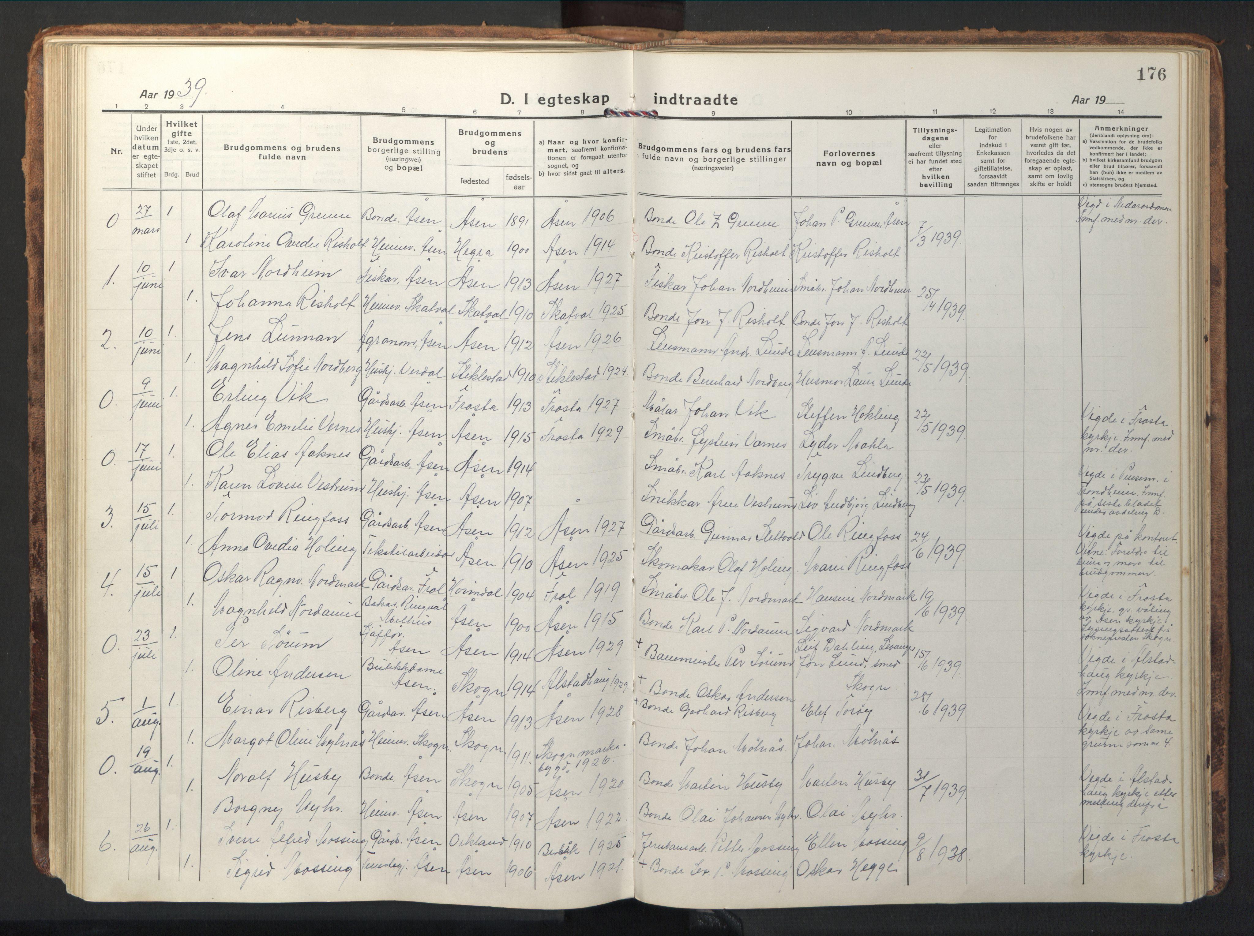 SAT, Ministerialprotokoller, klokkerbøker og fødselsregistre - Nord-Trøndelag, 714/L0136: Klokkerbok nr. 714C05, 1918-1957, s. 176