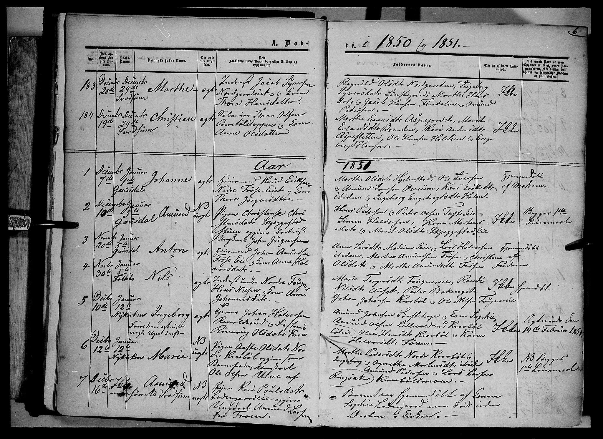 SAH, Gausdal prestekontor, Ministerialbok nr. 8, 1850-1861, s. 6
