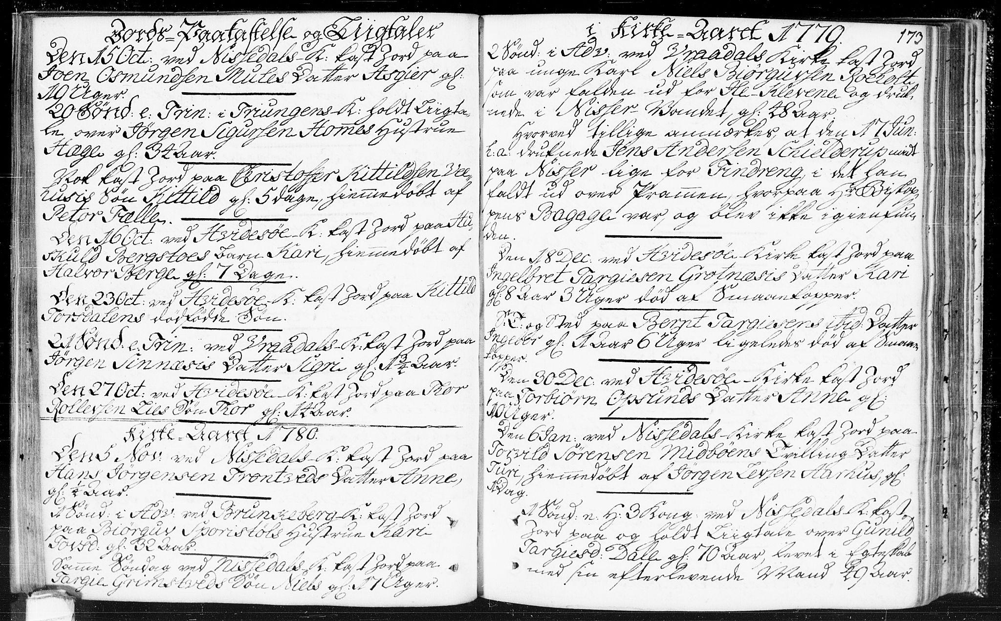 SAKO, Kviteseid kirkebøker, F/Fa/L0002: Ministerialbok nr. I 2, 1773-1786, s. 173