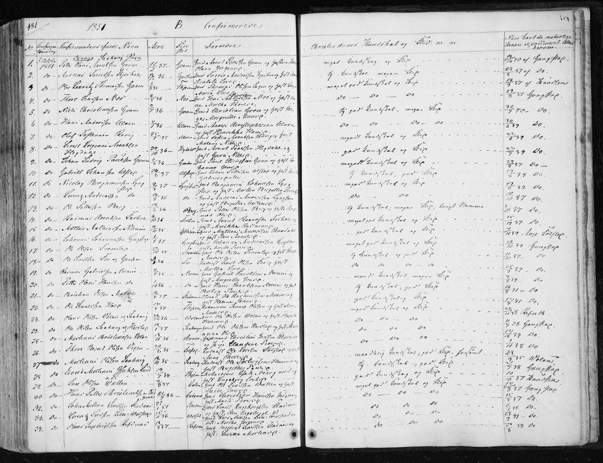 SAT, Ministerialprotokoller, klokkerbøker og fødselsregistre - Nord-Trøndelag, 730/L0280: Ministerialbok nr. 730A07 /1, 1840-1854, s. 481