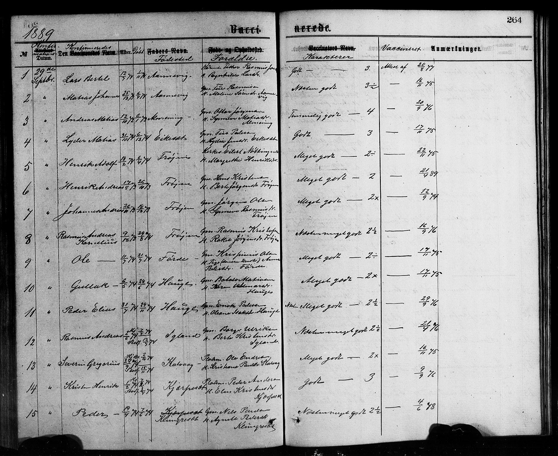 SAB, Bremanger Sokneprestembete, H/Hab: Klokkerbok nr. A 2, 1866-1889, s. 264