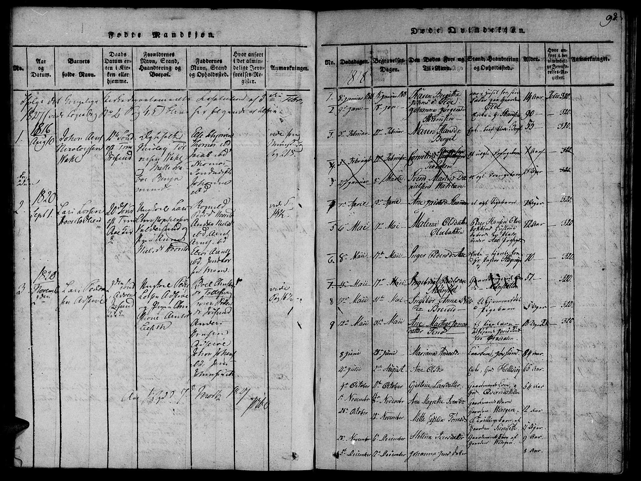 SAT, Ministerialprotokoller, klokkerbøker og fødselsregistre - Sør-Trøndelag, 655/L0675: Ministerialbok nr. 655A04, 1818-1830, s. 92