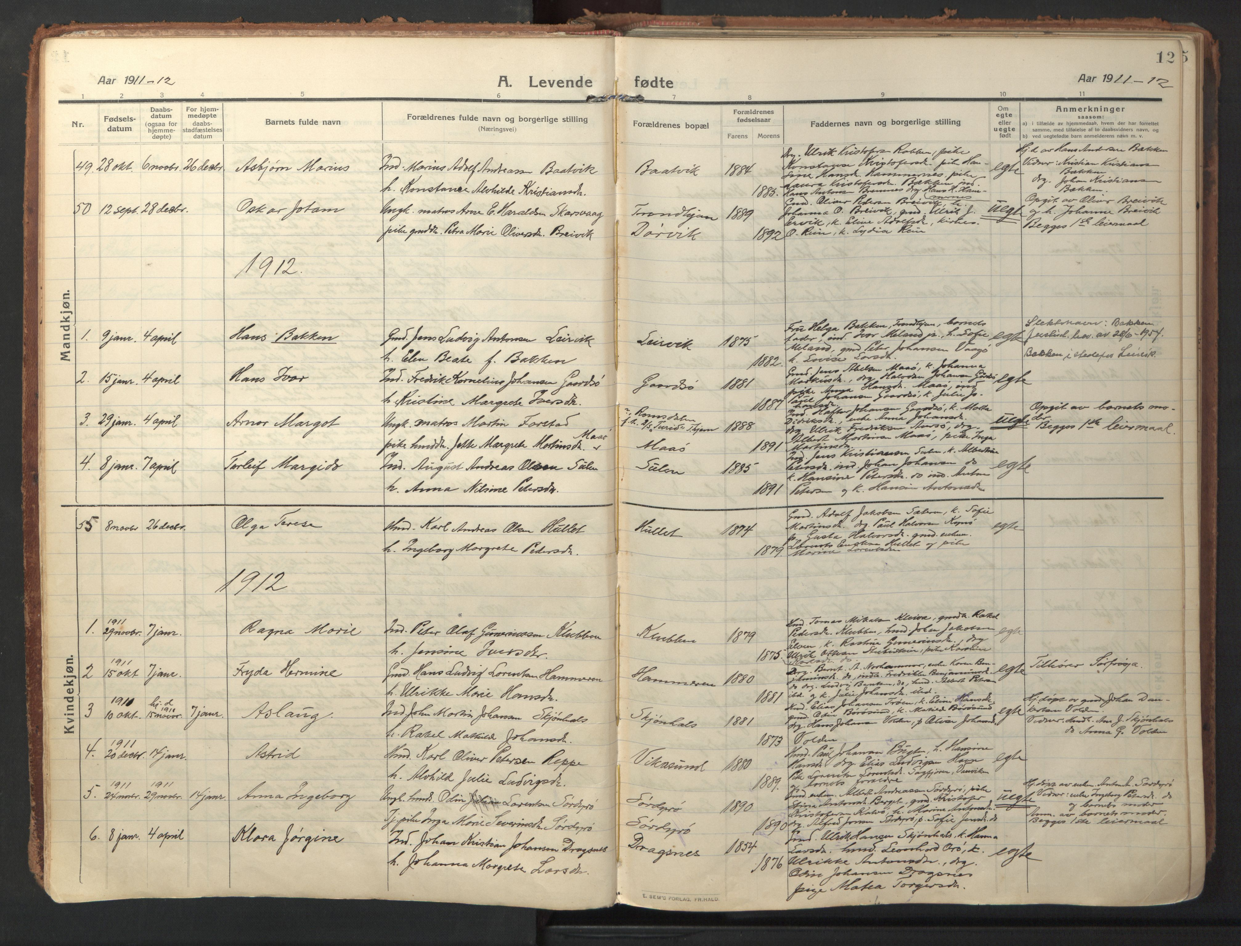SAT, Ministerialprotokoller, klokkerbøker og fødselsregistre - Sør-Trøndelag, 640/L0581: Ministerialbok nr. 640A06, 1910-1924, s. 12