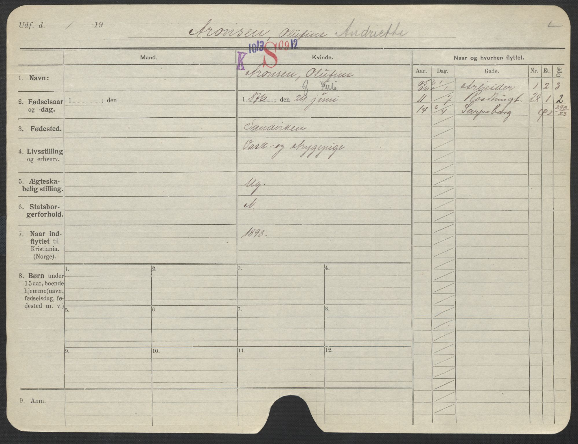 SAO, Oslo folkeregister, Registerkort, F/Fa/Fac/L0012: Kvinner, 1906-1914, s. 1076a