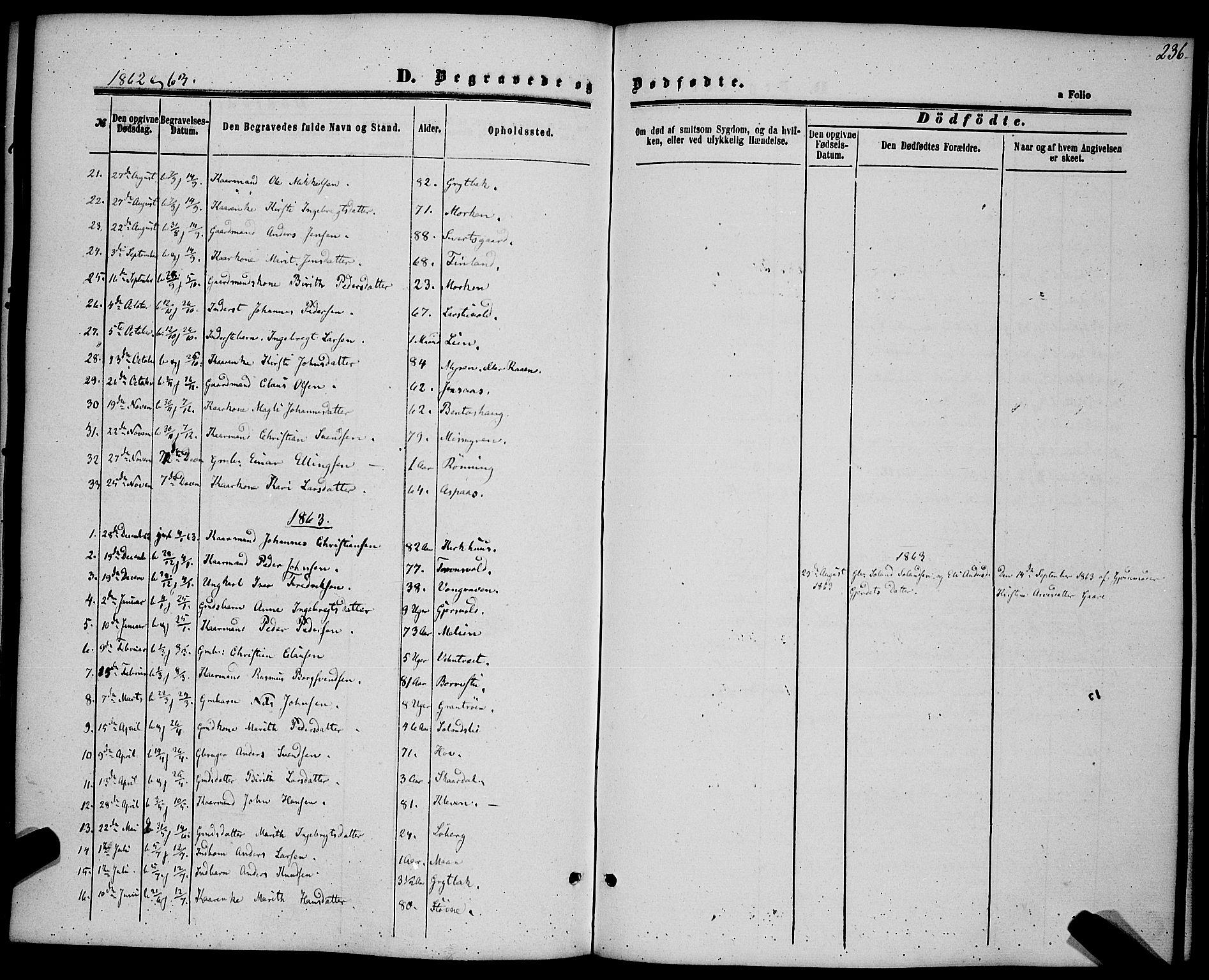 SAT, Ministerialprotokoller, klokkerbøker og fødselsregistre - Sør-Trøndelag, 685/L0968: Ministerialbok nr. 685A07 /3, 1860-1869, s. 236