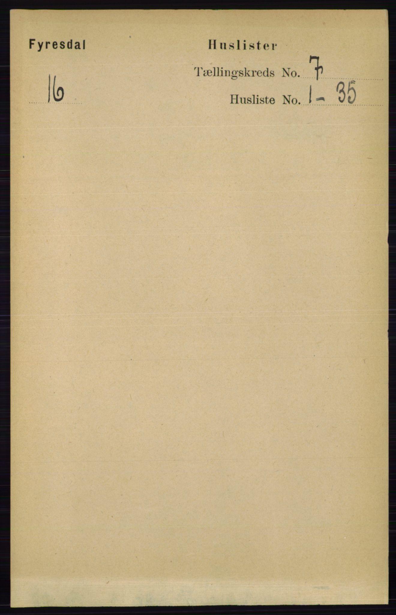 RA, Folketelling 1891 for 0831 Fyresdal herred, 1891, s. 1856