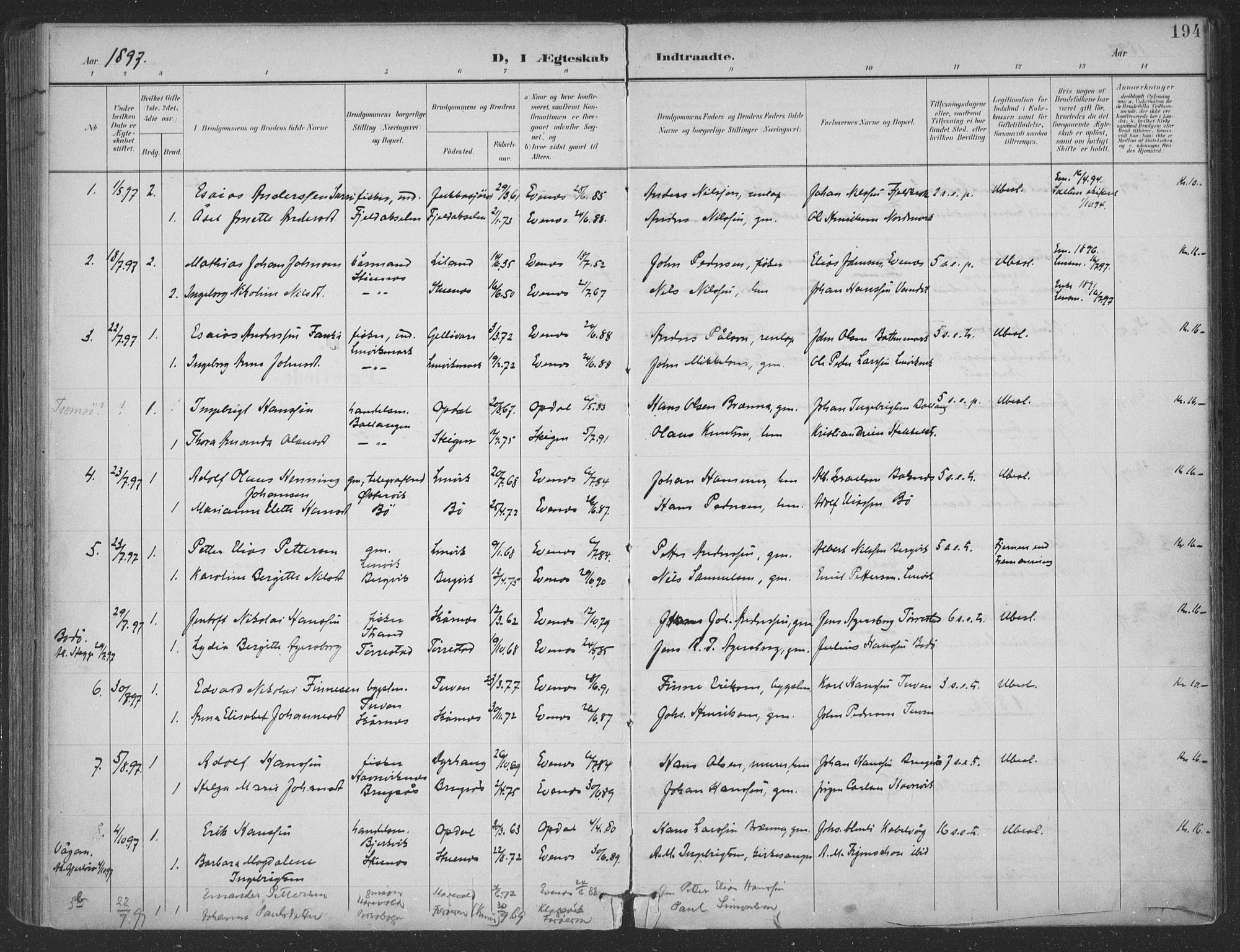 SAT, Ministerialprotokoller, klokkerbøker og fødselsregistre - Nordland, 863/L0899: Ministerialbok nr. 863A11, 1897-1906, s. 194