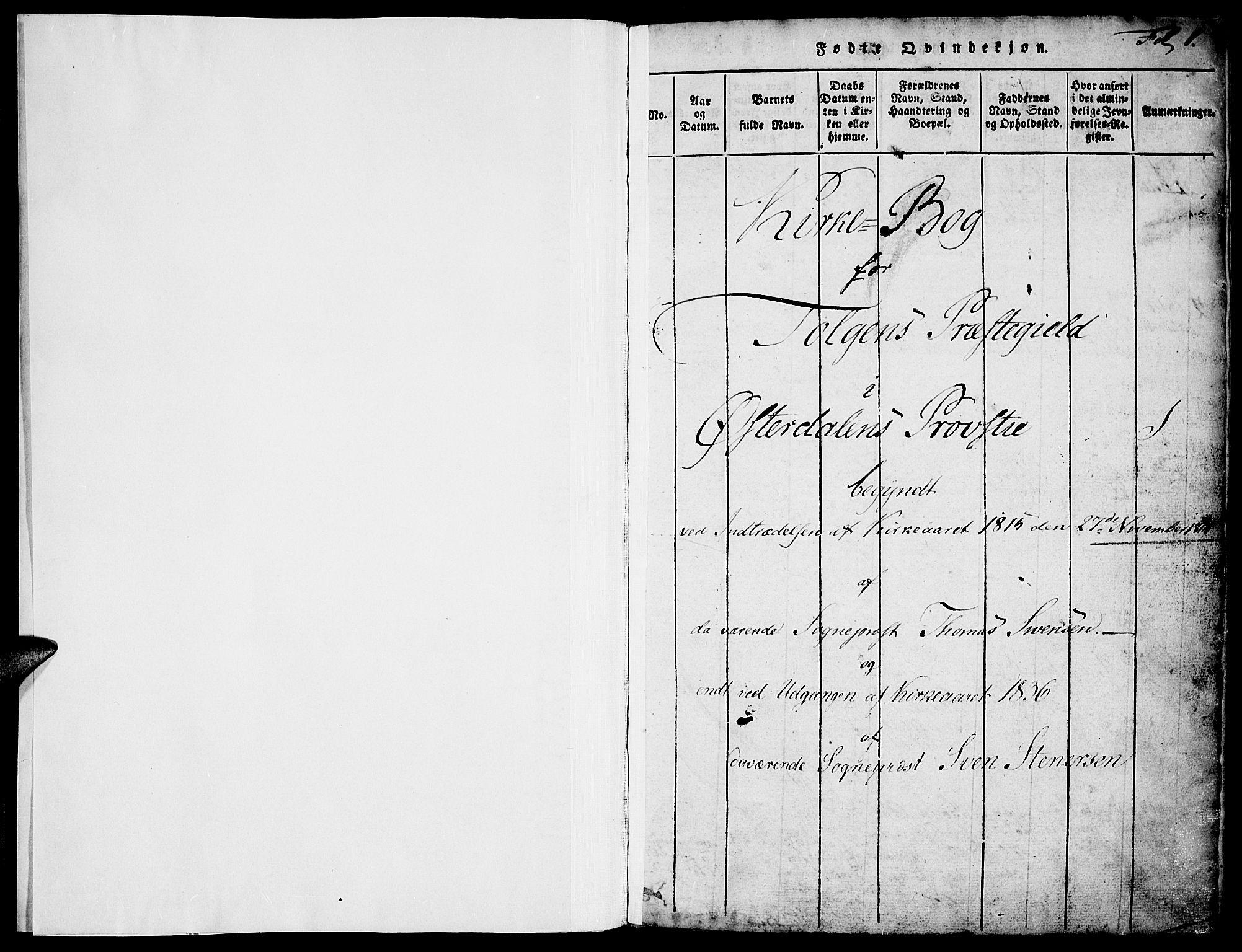 SAH, Tolga prestekontor, K/L0004: Ministerialbok nr. 4, 1815-1836, s. 1