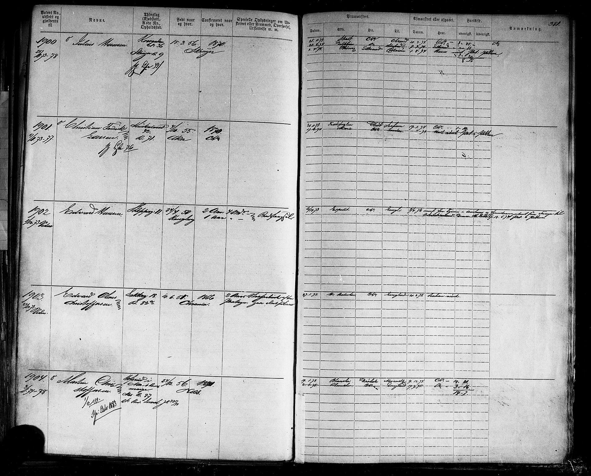SAO, Oslo mønstringskontor, F/Fc/Fca/L0001: Annotasjonsrulle, 1866-1881, s. 380b-381a
