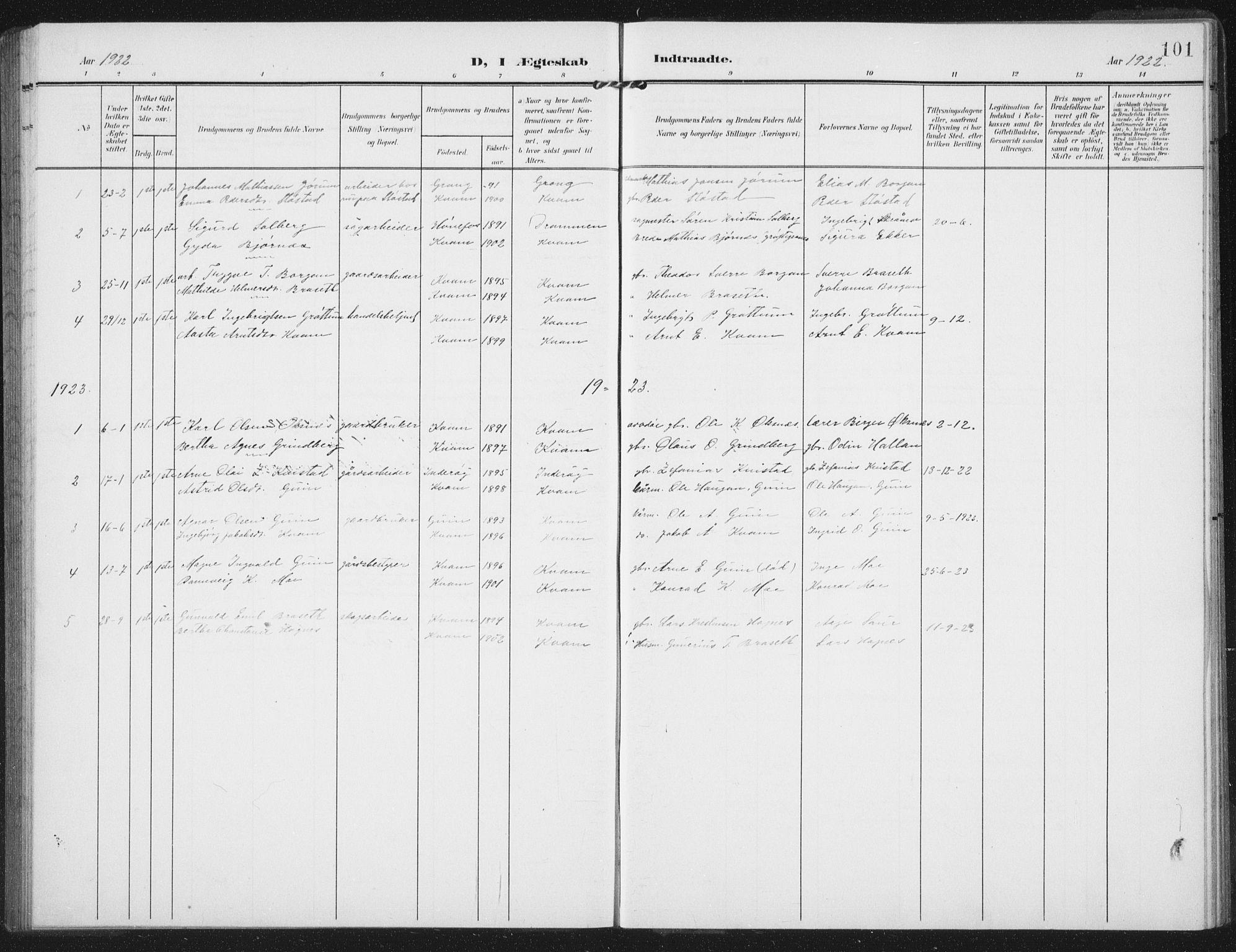 SAT, Ministerialprotokoller, klokkerbøker og fødselsregistre - Nord-Trøndelag, 747/L0460: Klokkerbok nr. 747C02, 1908-1939, s. 101